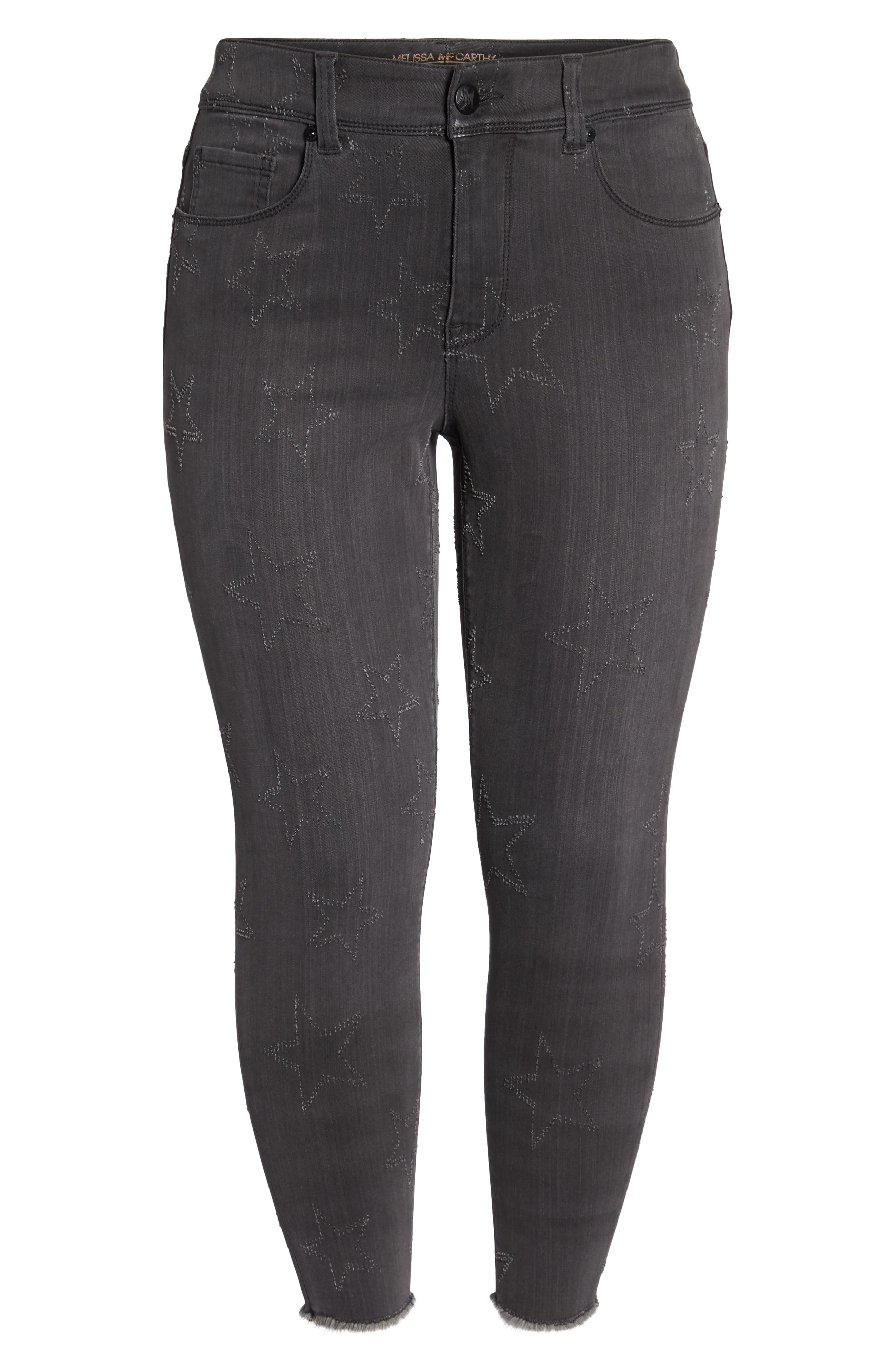 Star Embroidered Fray Hem Pencil Jeans,                             Alternate thumbnail 6, color,                             028