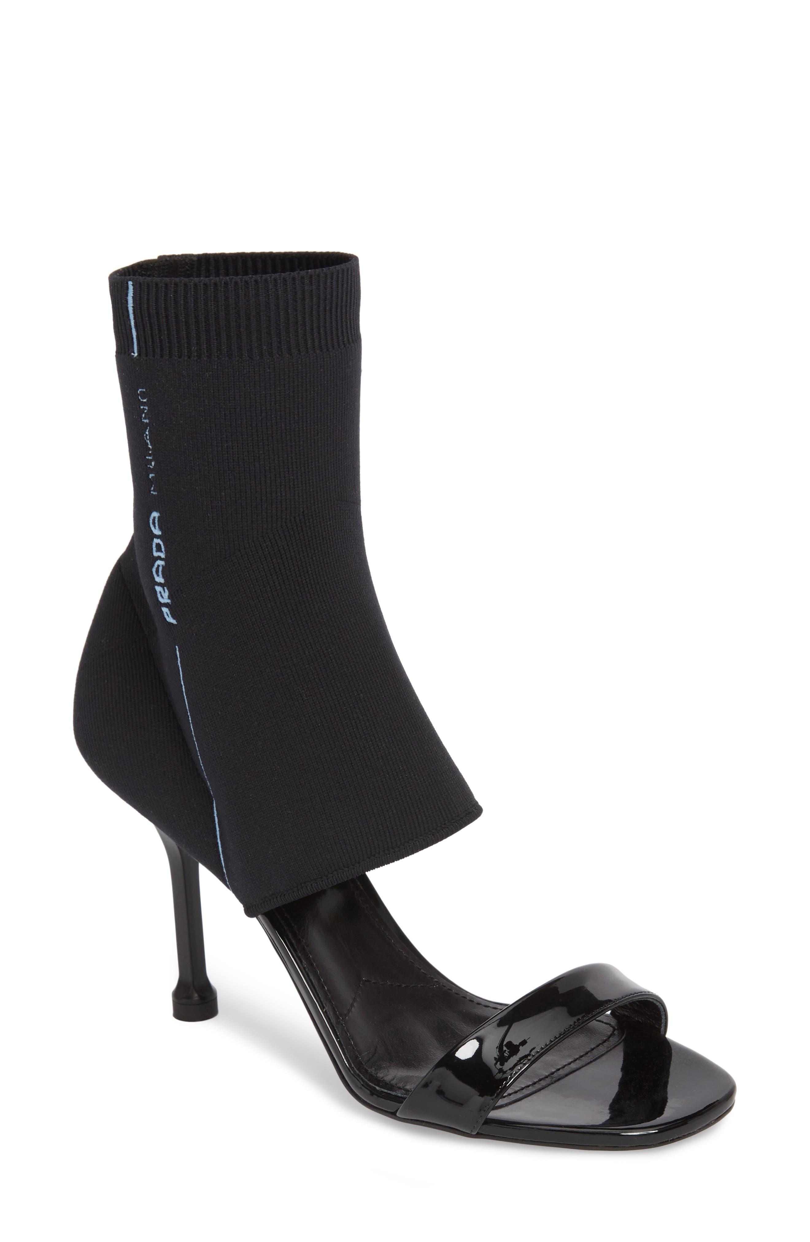 PRADA Sock Shaft Sandal, Main, color, 001