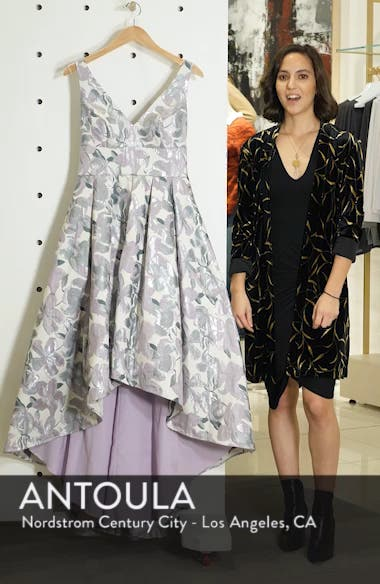 Floral Jacquard High/Low Evening Dress, sales video thumbnail