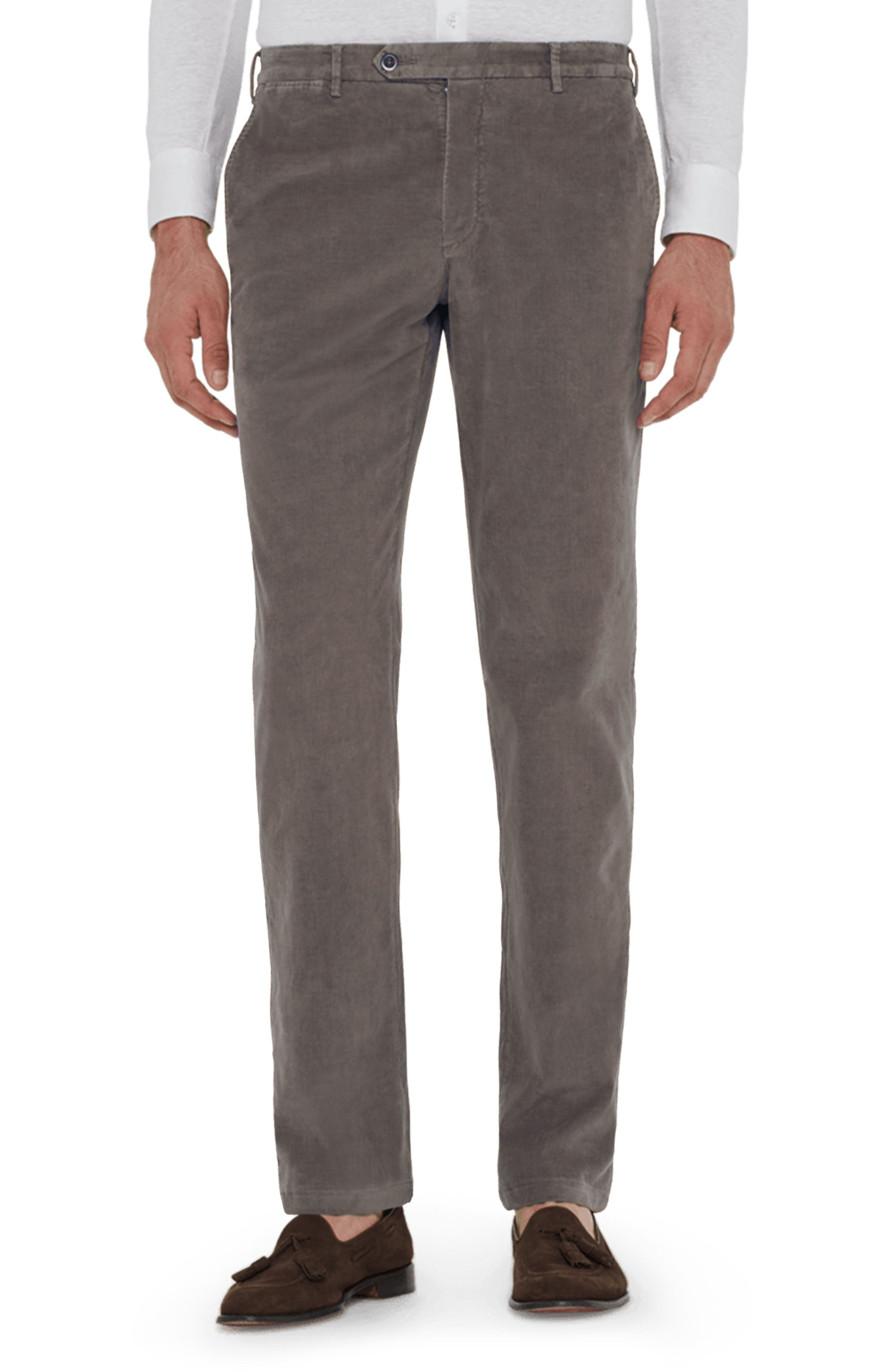 ZANELLA Curtis Flat Front Stretch Corduroy Cotton Trousers in Grey