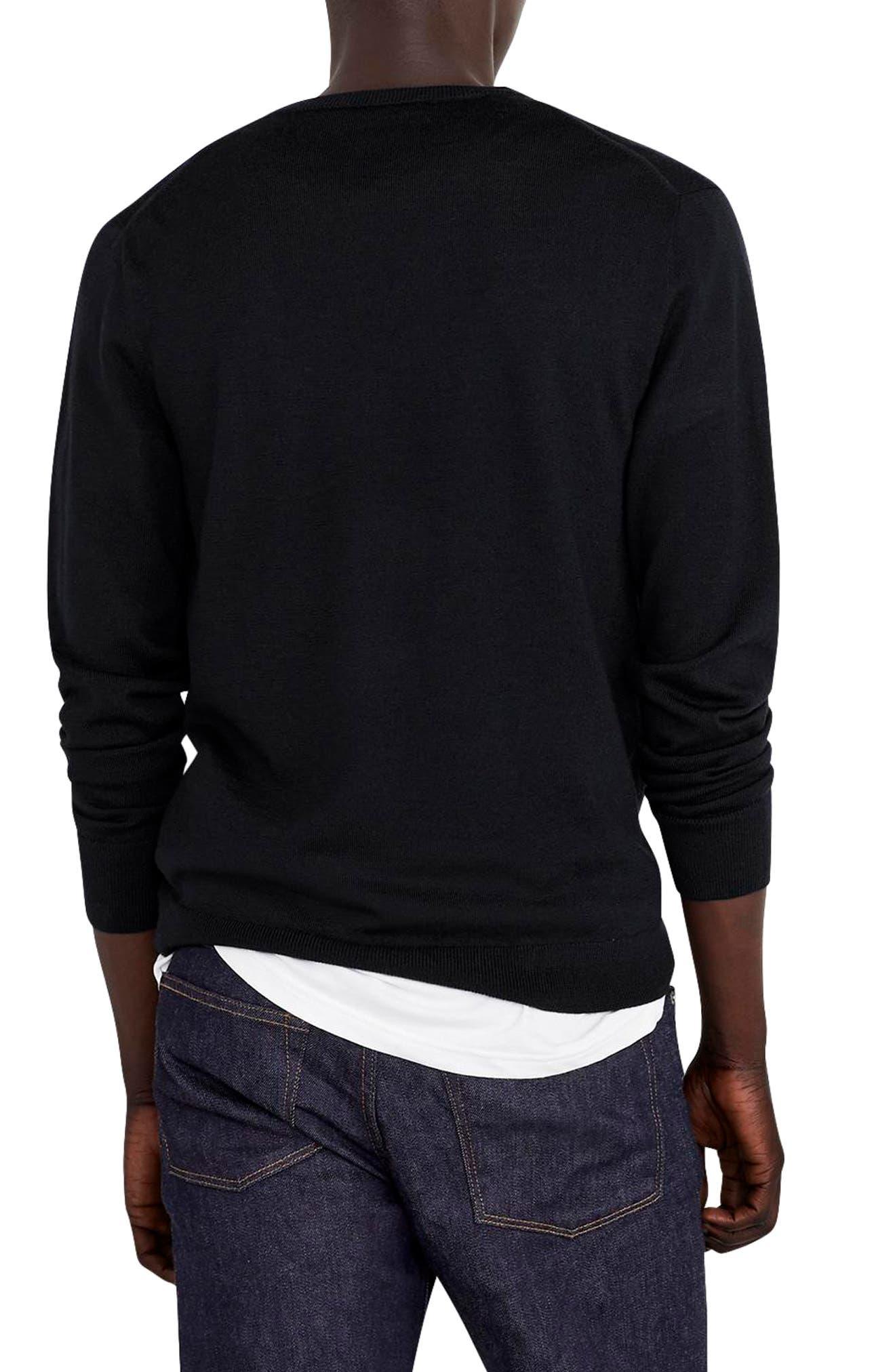 V-Neck Merino Wool Sweater,                             Alternate thumbnail 2, color,                             001