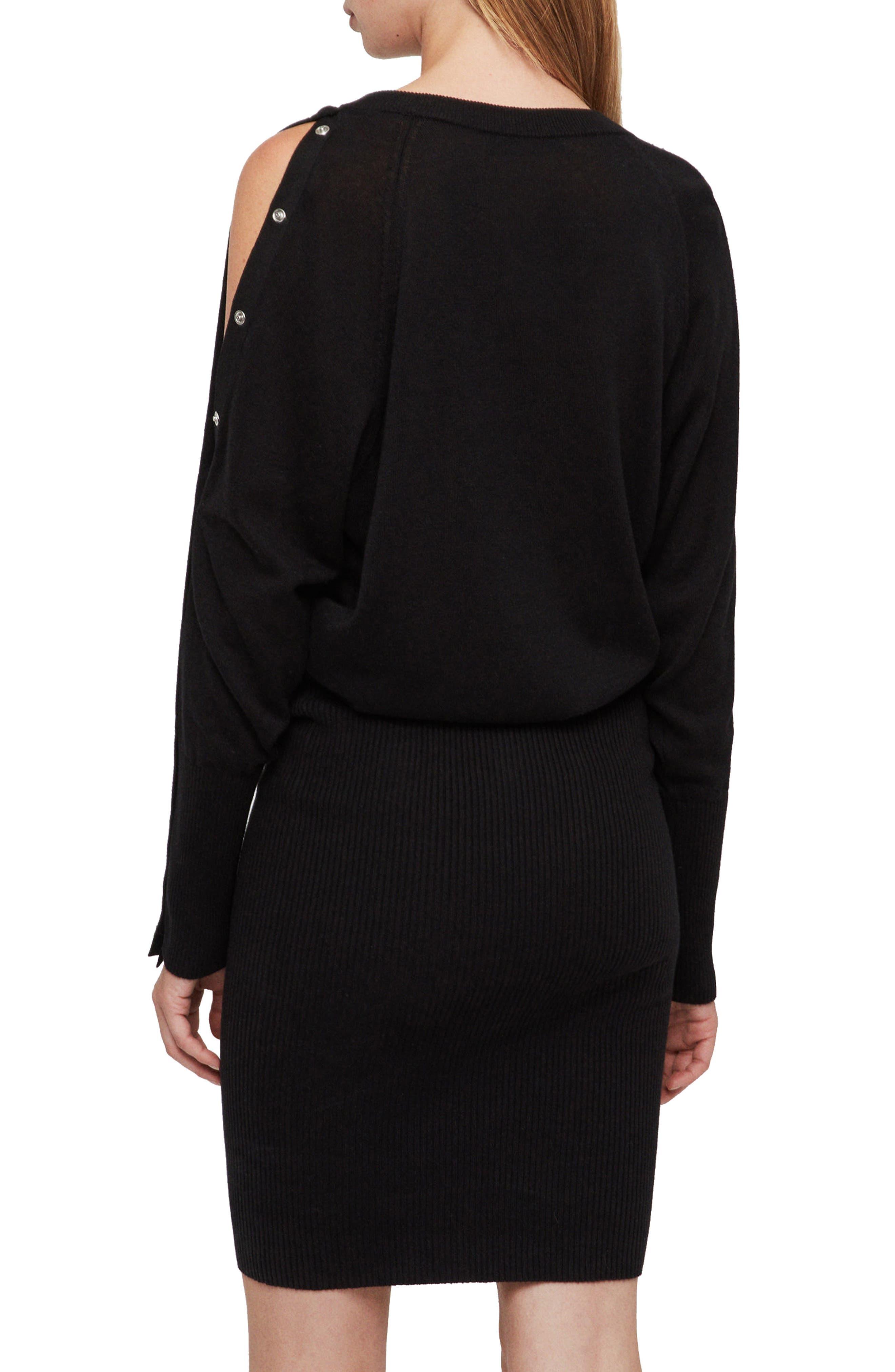 ALLSAINTS,                             Suzie Snap Sleeve Sweater Dress,                             Alternate thumbnail 2, color,                             001
