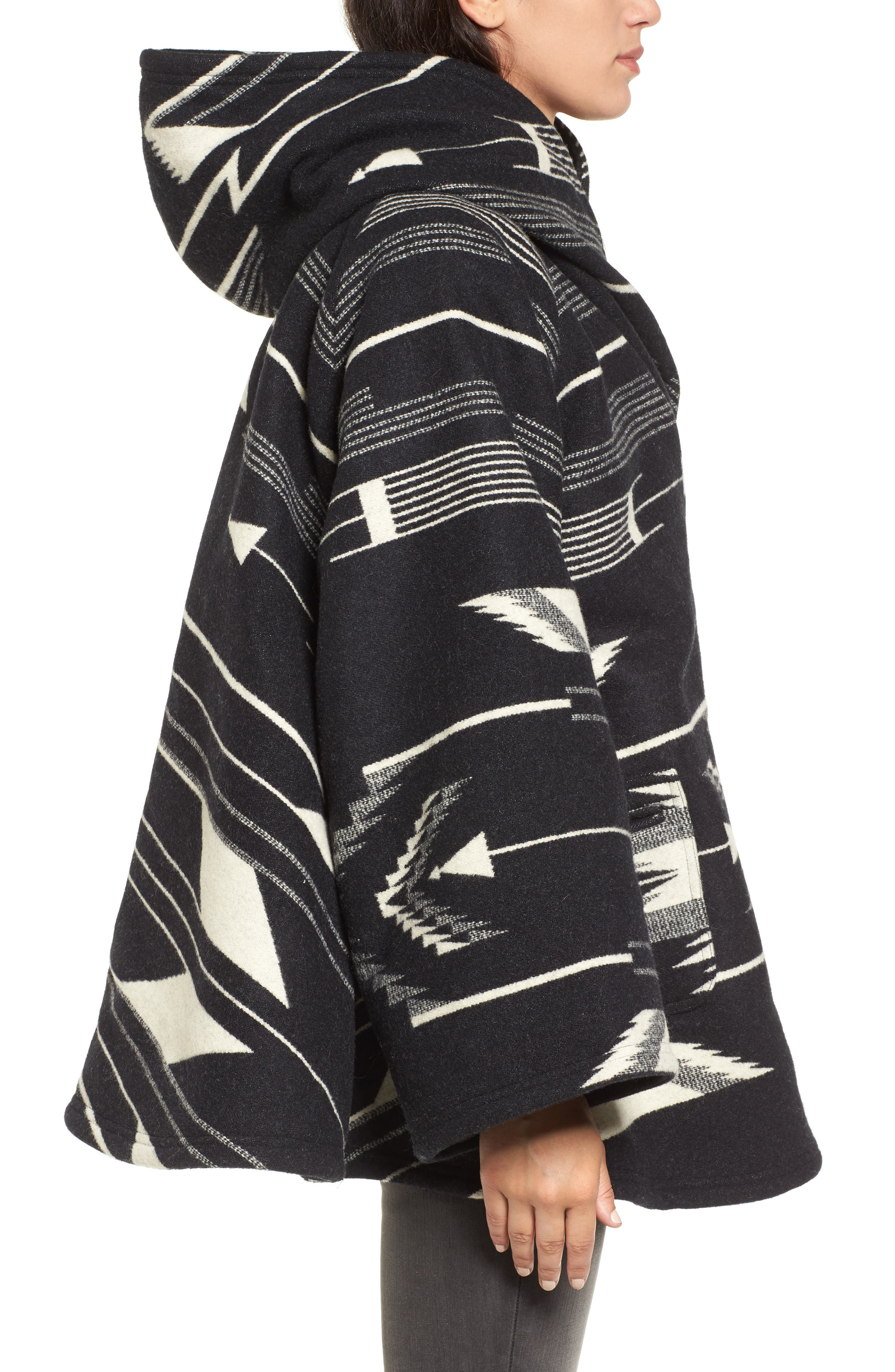 LINDSEY THORNBURG,                             x Pendleton Wool Blend Hooded Cape,                             Alternate thumbnail 3, color,                             005