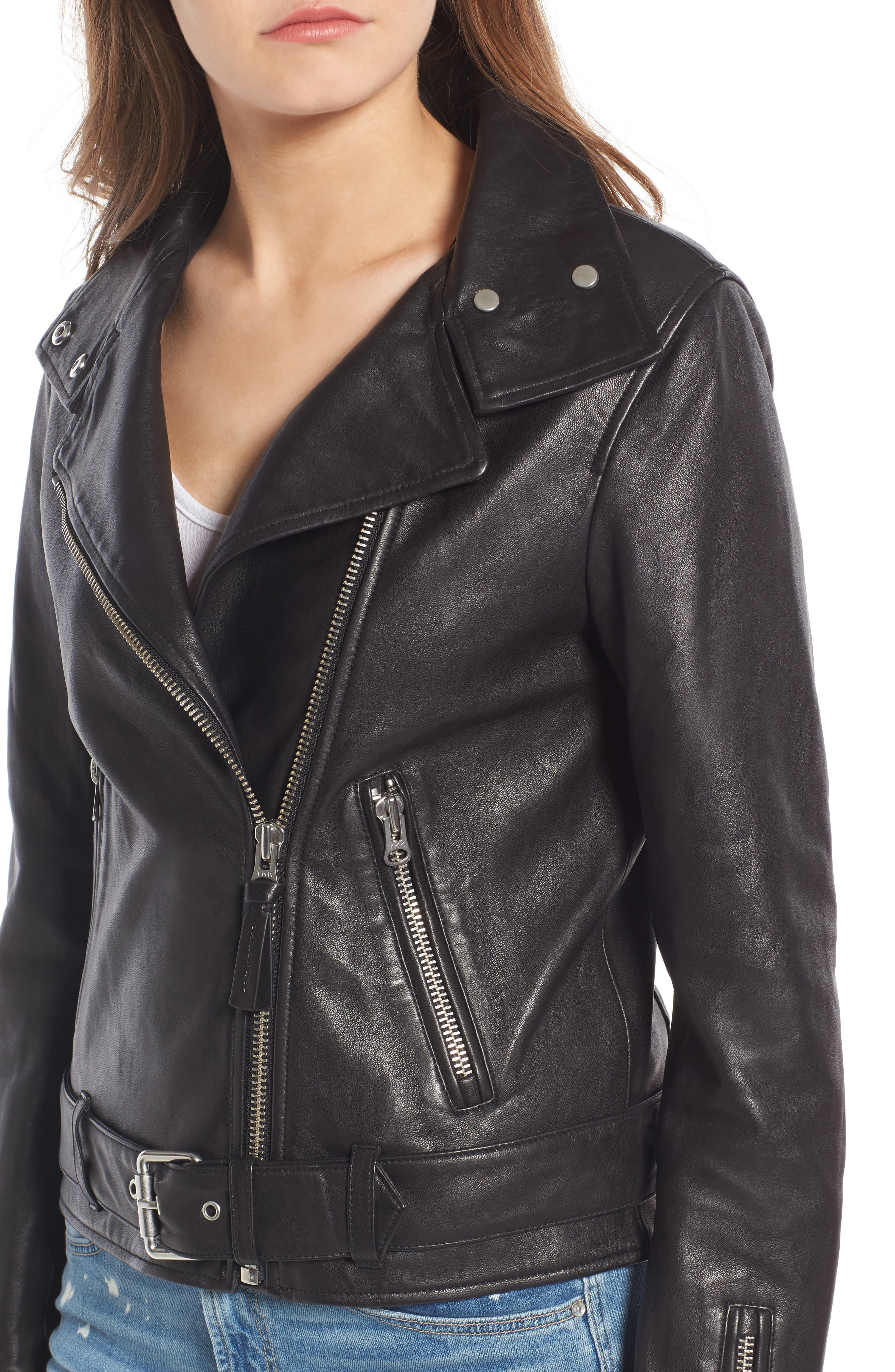 Miela-N Belted Leather Moto Jacket,                             Alternate thumbnail 4, color,                             001