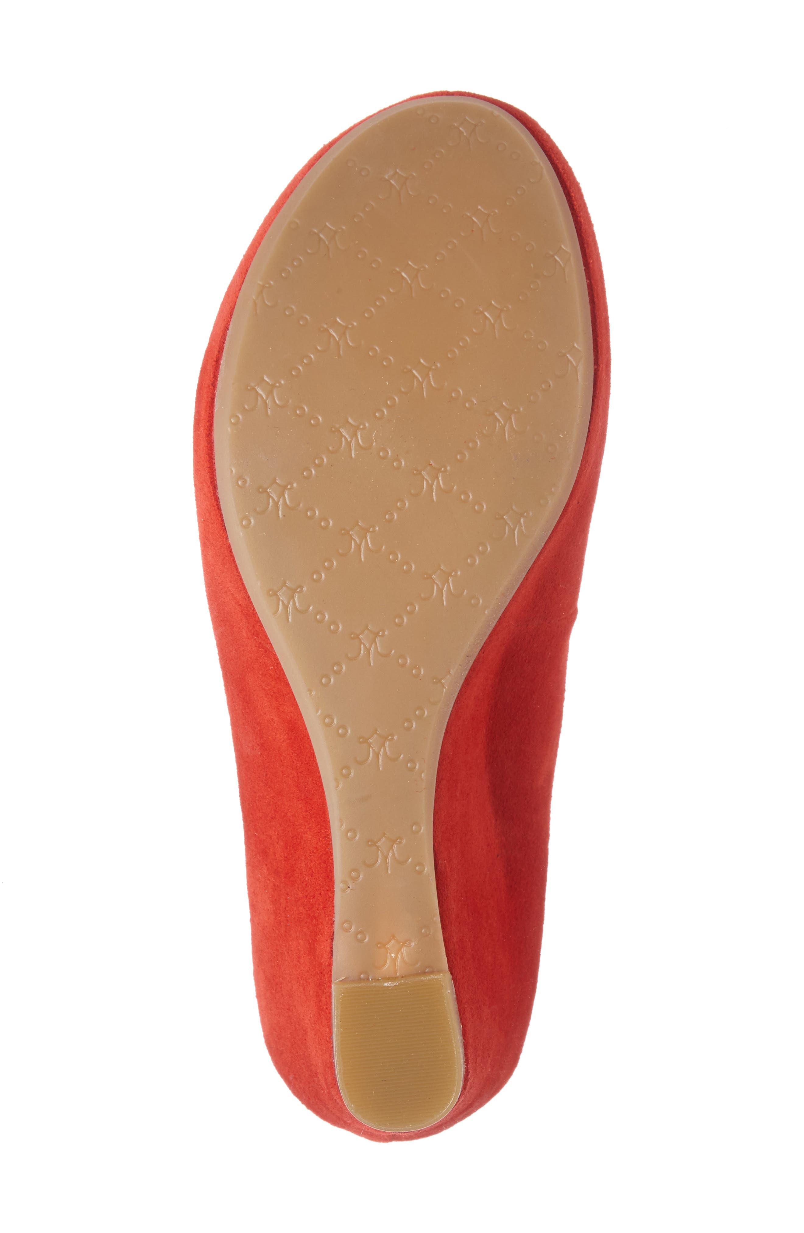 'Tricia' Ankle Strap Sandal,                             Alternate thumbnail 4, color,                             FLAMINGO RED SUEDE