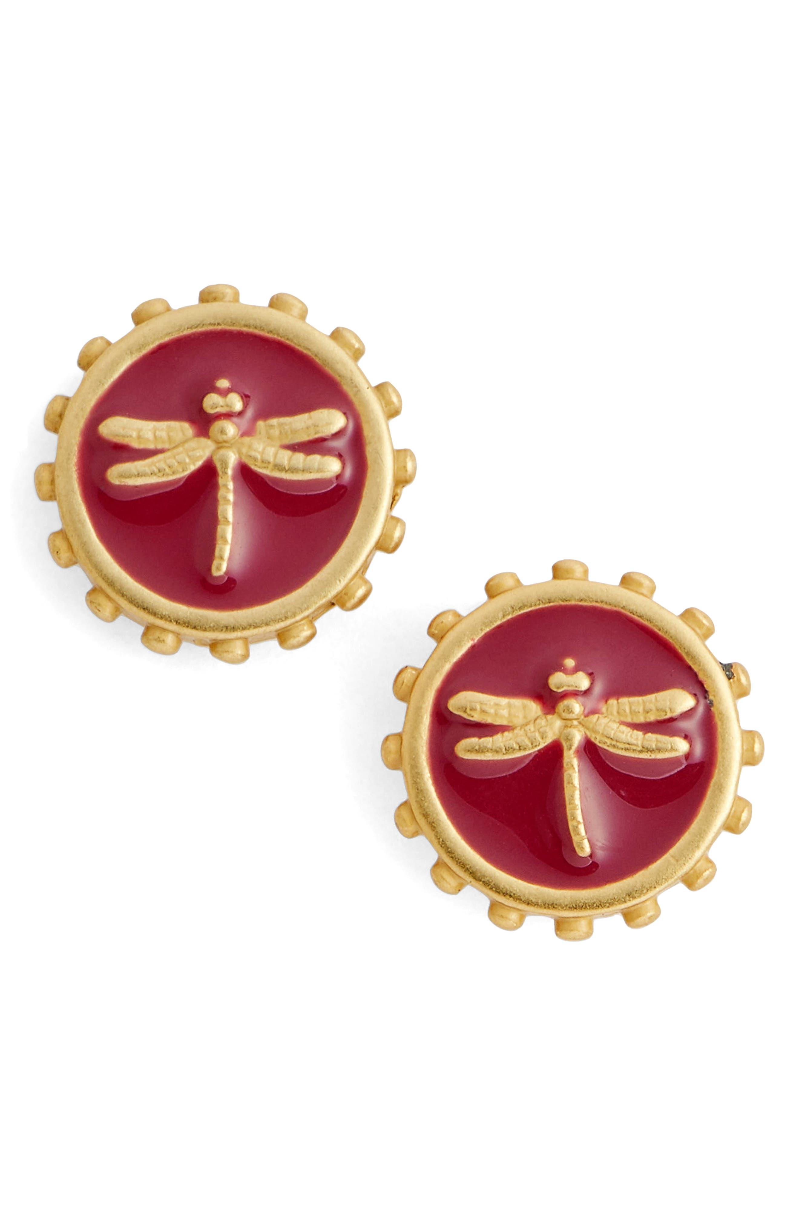 Dragonfly Charm Stud Earrings,                         Main,                         color, 710