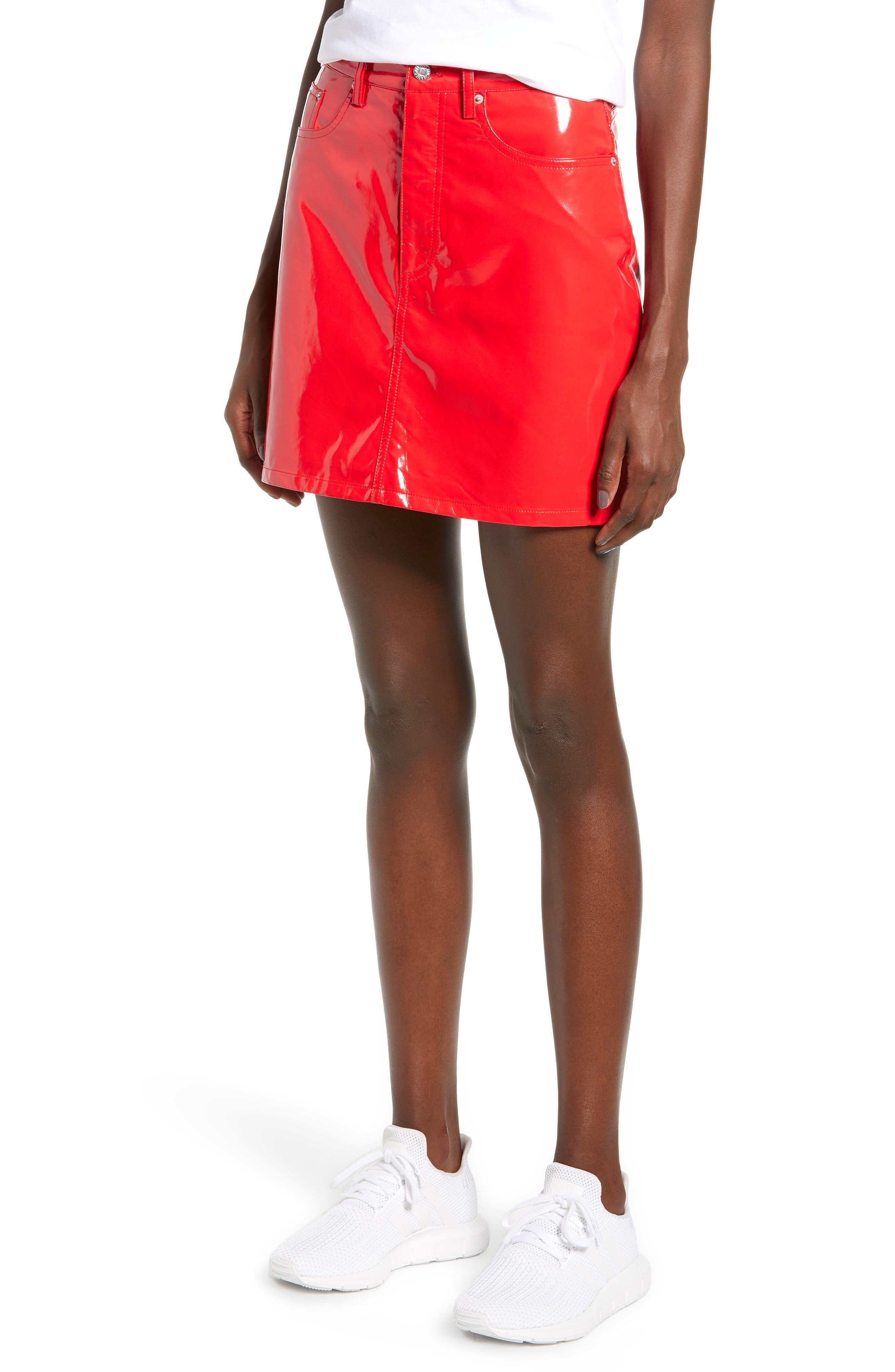 Calvin Klein Jeans Glossy Miniskirt, Red