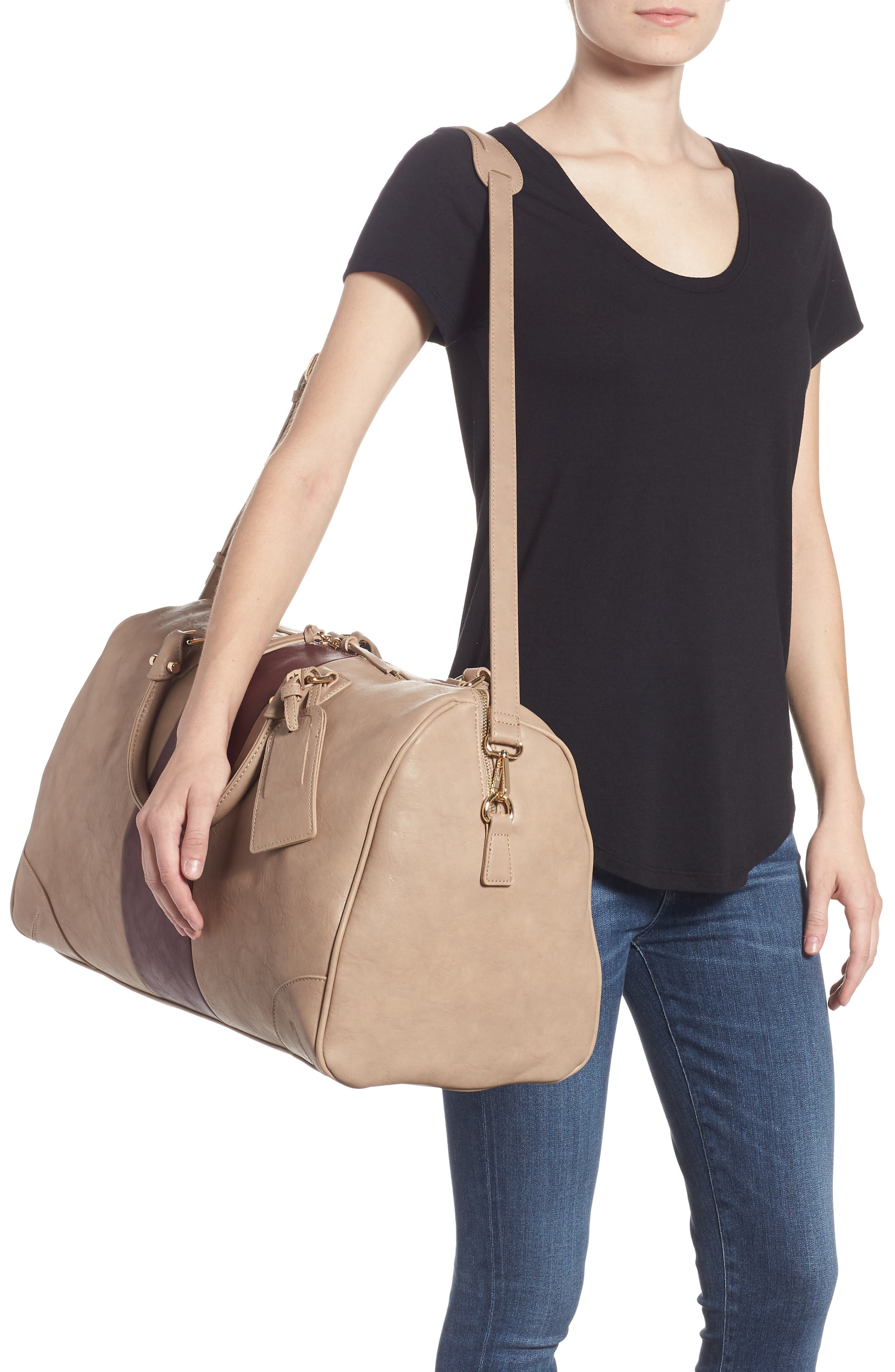 'Robin' Faux Leather Weekend Bag,                             Alternate thumbnail 2, color,                             TAUPE