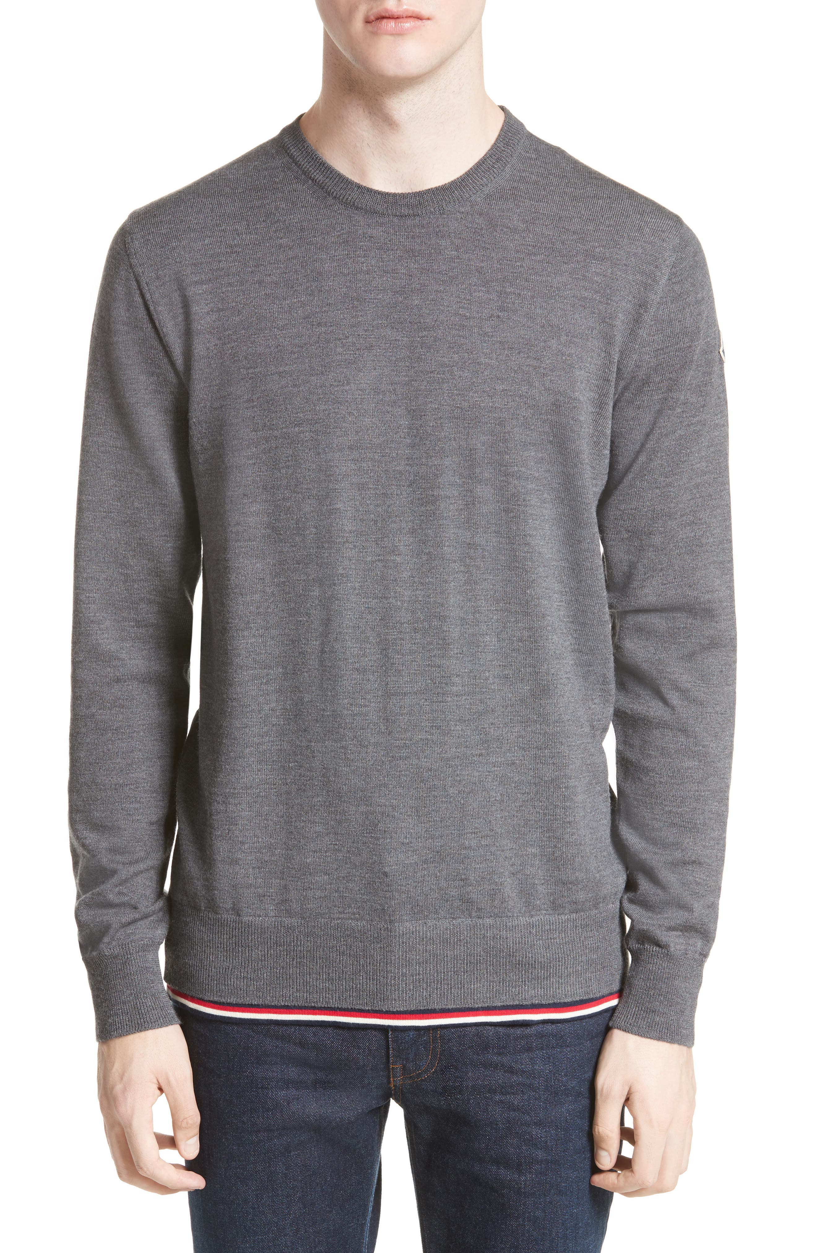 Maglione Tipped Wool Sweater,                             Alternate thumbnail 4, color,                             GREY
