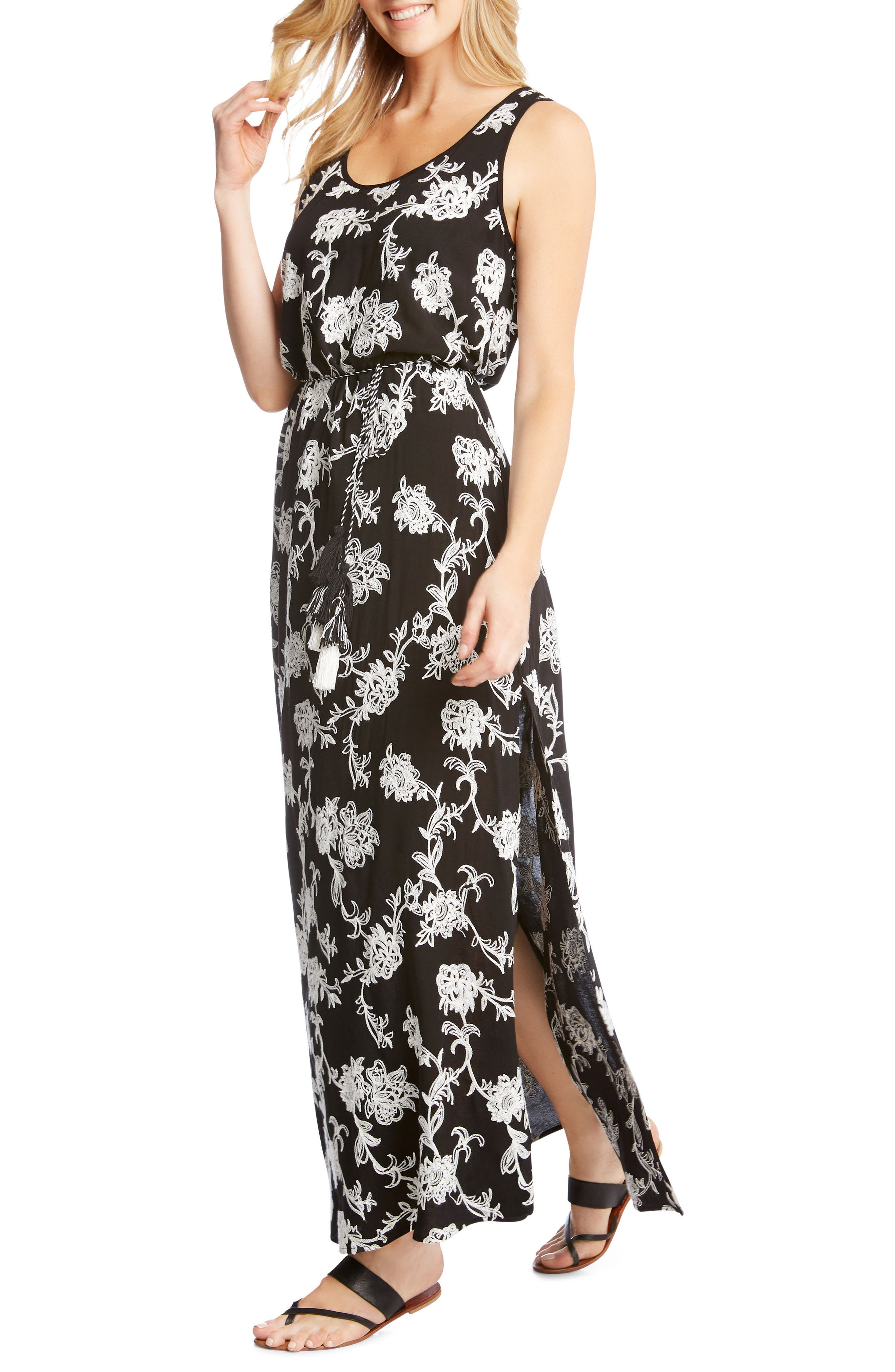 Embroidered A-Line Max Dress,                         Main,                         color, BLACK