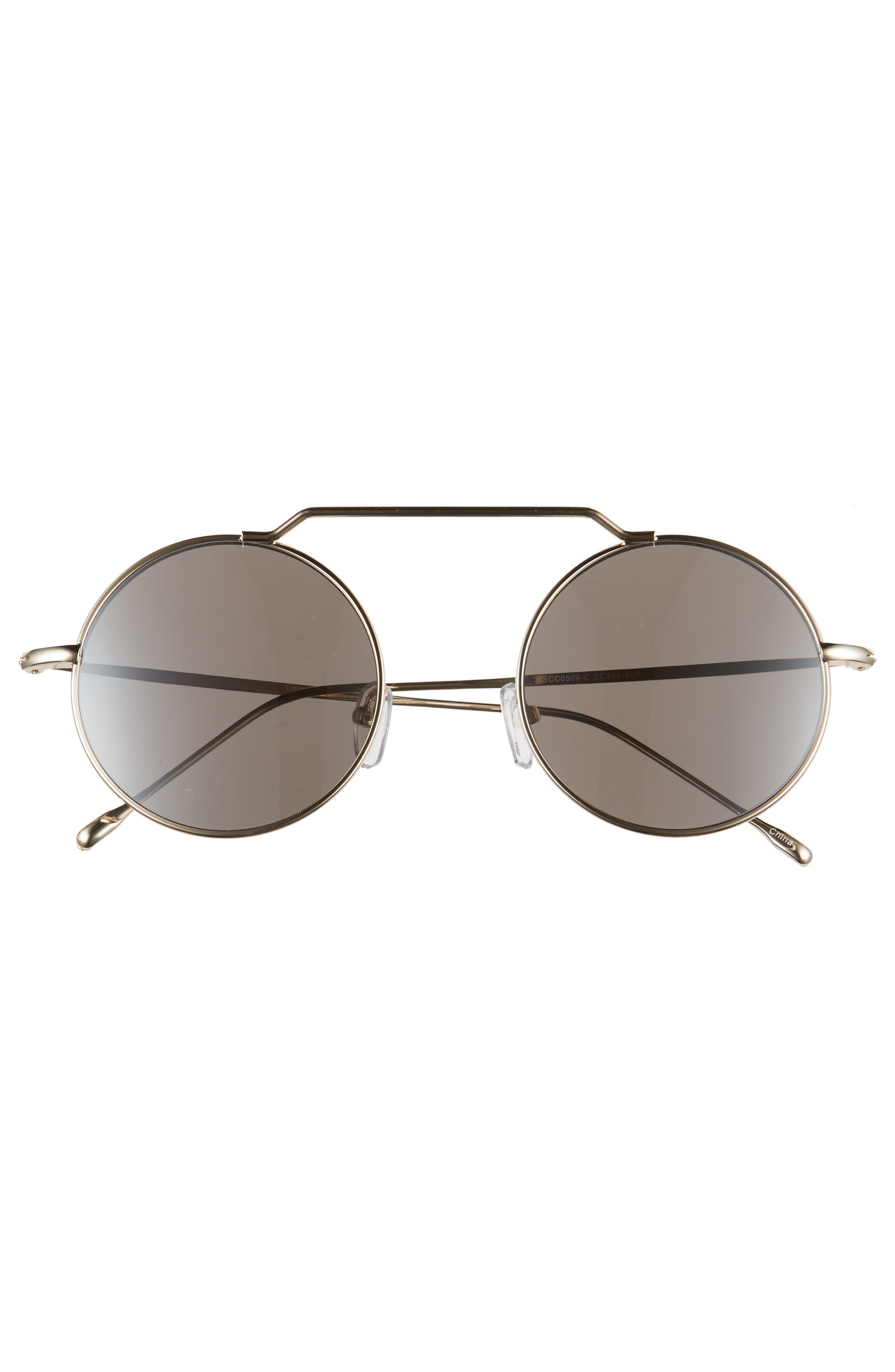 51mm Brow Bar Round Sunglasses,                             Alternate thumbnail 8, color,