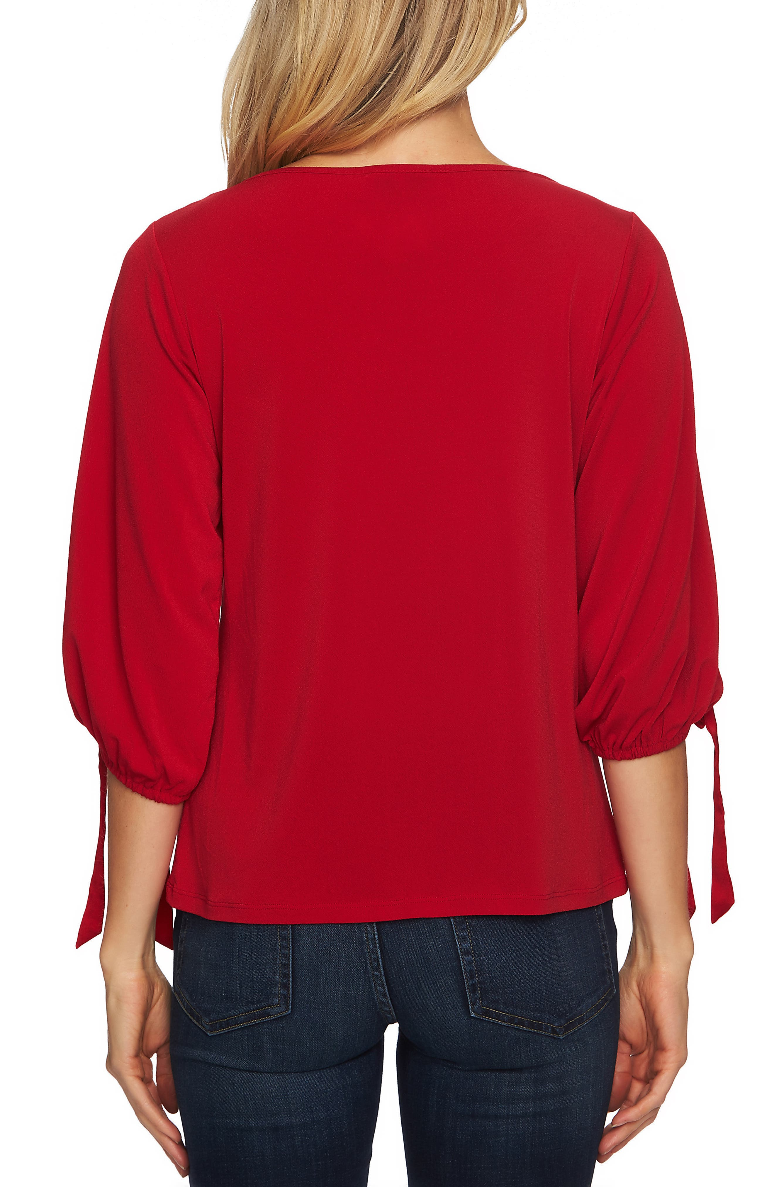Tie Sleeve Top,                             Alternate thumbnail 2, color,                             RIBBON RED