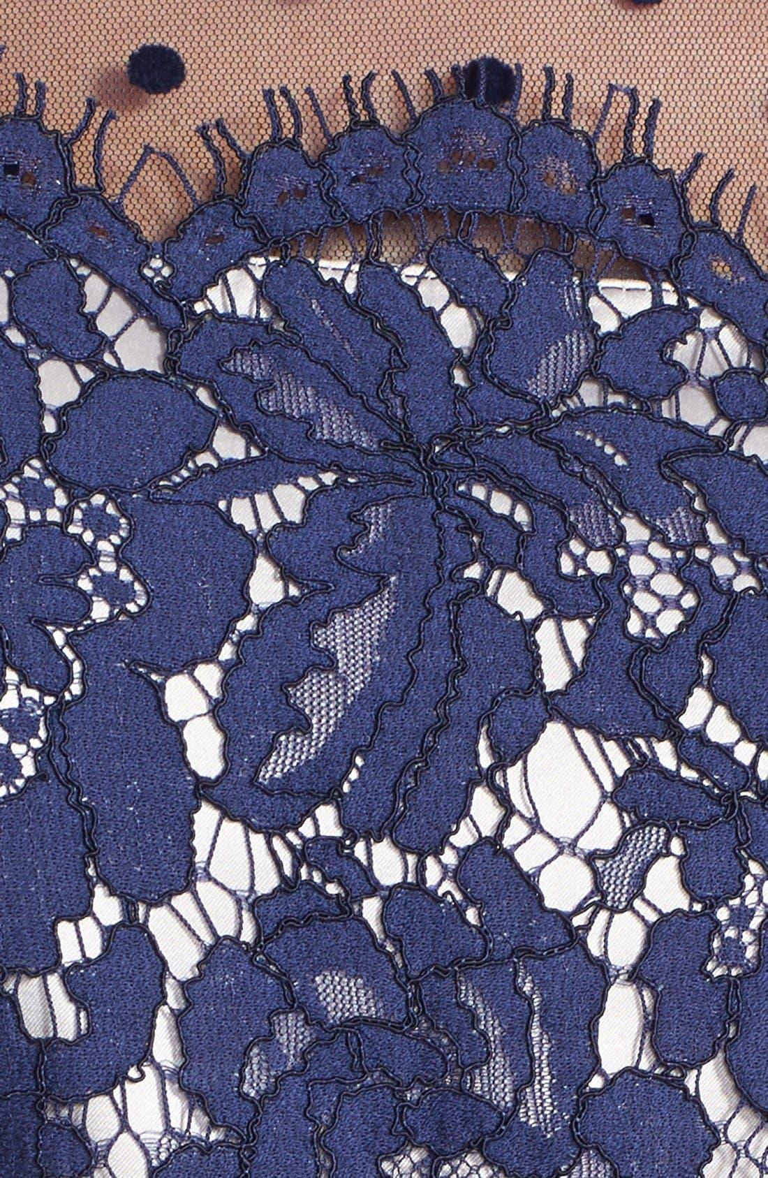 Illusion Yoke Lace Fit & Flare Dress,                             Alternate thumbnail 8, color,                             410