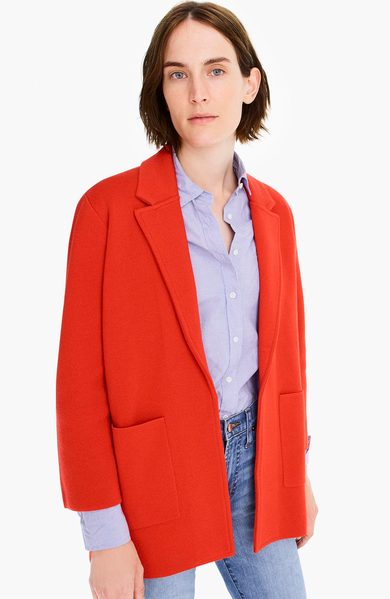 New Lightweight Sweater Blazer,                             Alternate thumbnail 6, color,                             BRIGHT CERISE