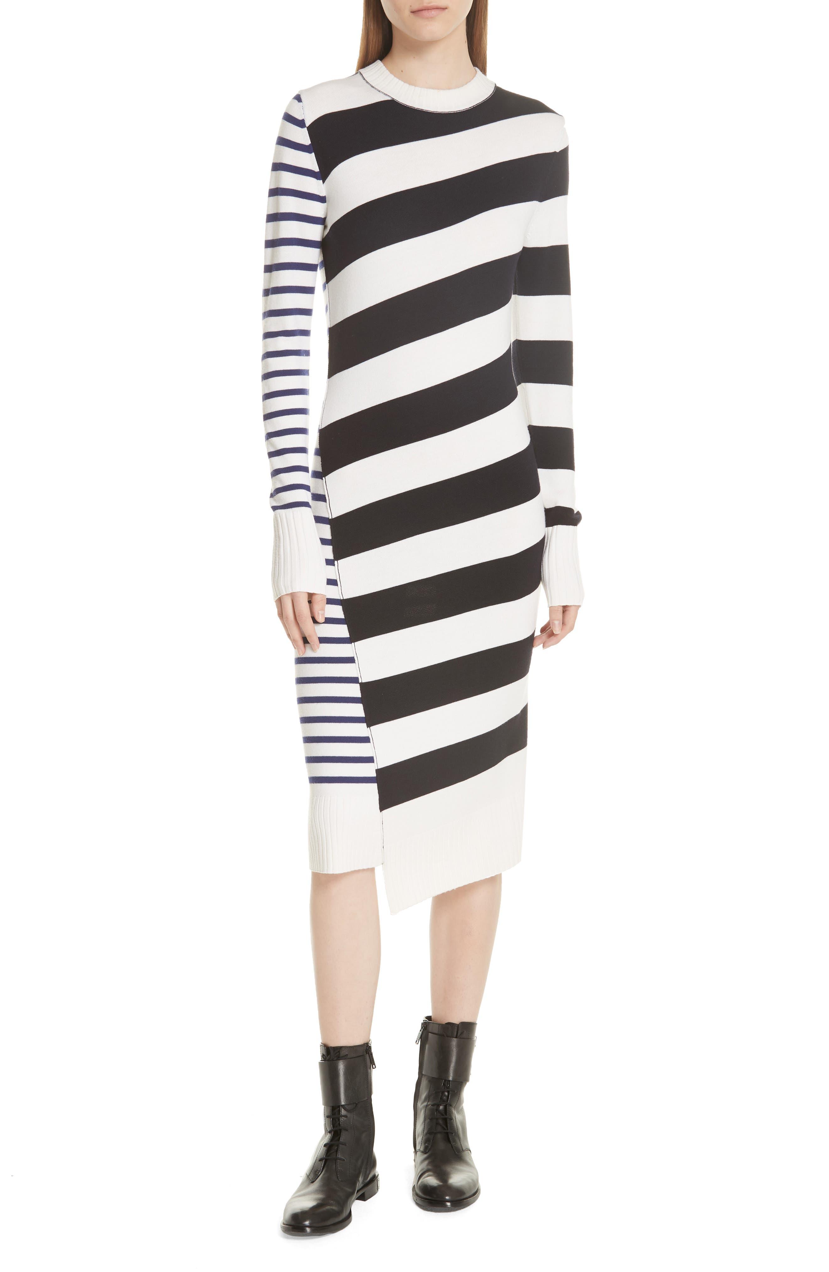 GREY JASON WU Mixed Stripe Merino Wool Sweater Dress in Star White/Midnight