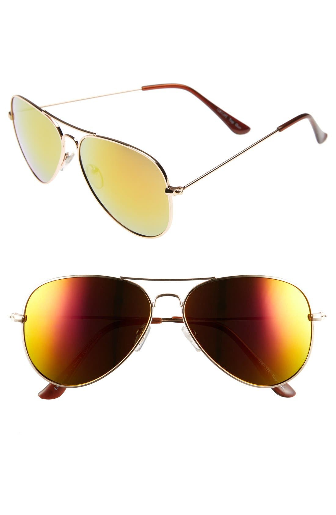 Mirrored Aviator 57mm Sunglasses,                             Main thumbnail 11, color,