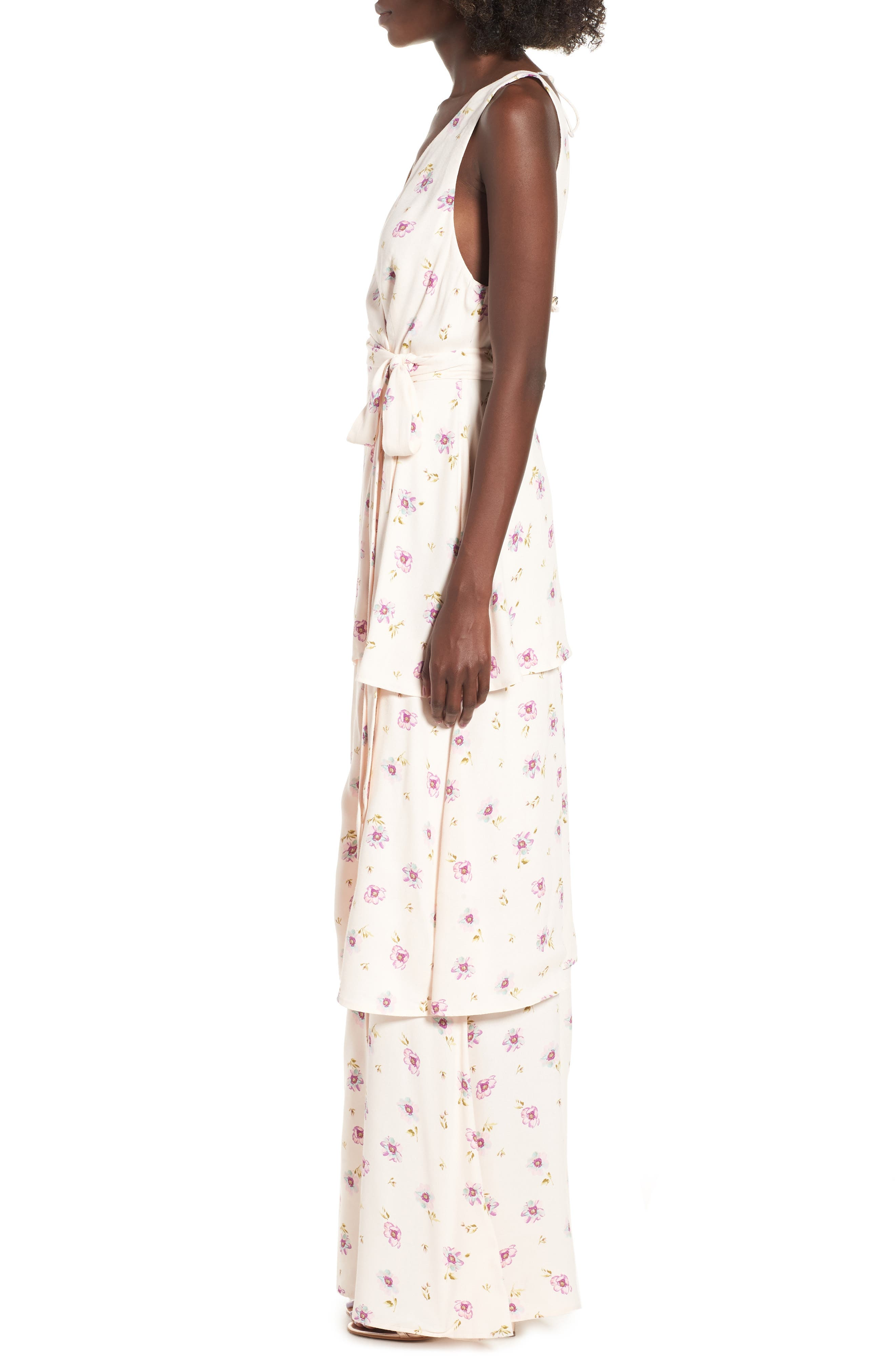 Rosa Wrap Maxi Dress,                             Alternate thumbnail 3, color,                             LILAC FLORAL