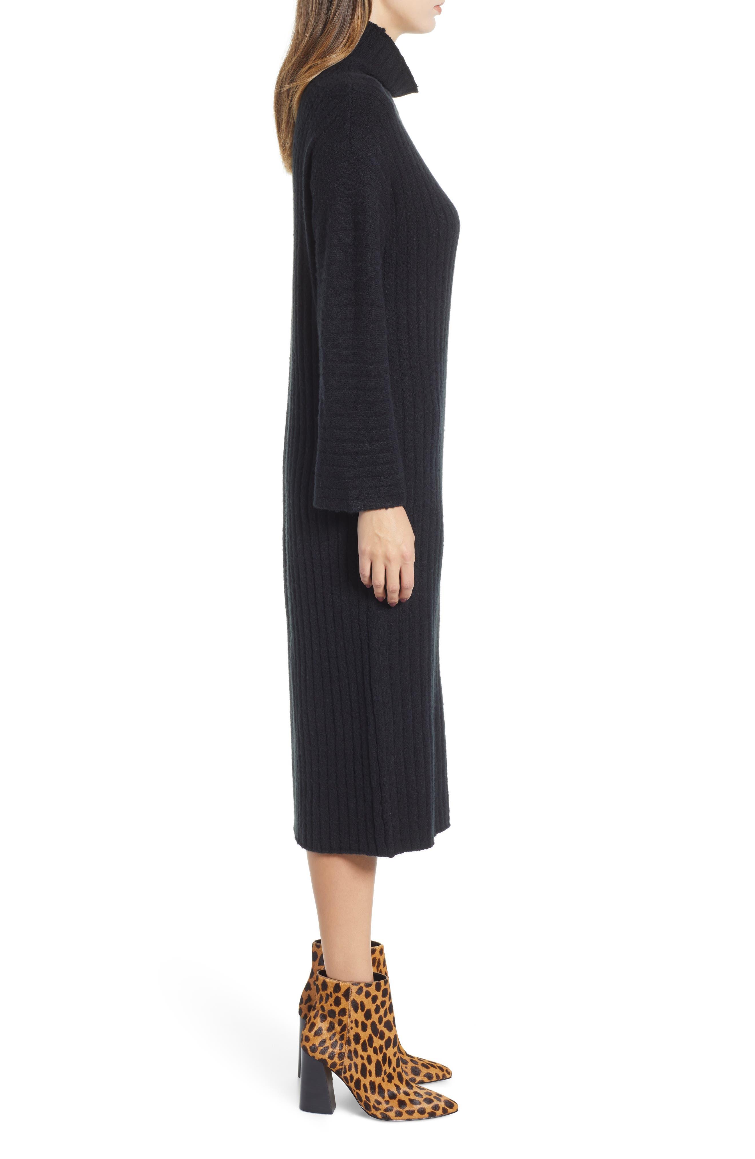 Rib Midi Sweater Dress,                             Alternate thumbnail 3, color,                             BLACK