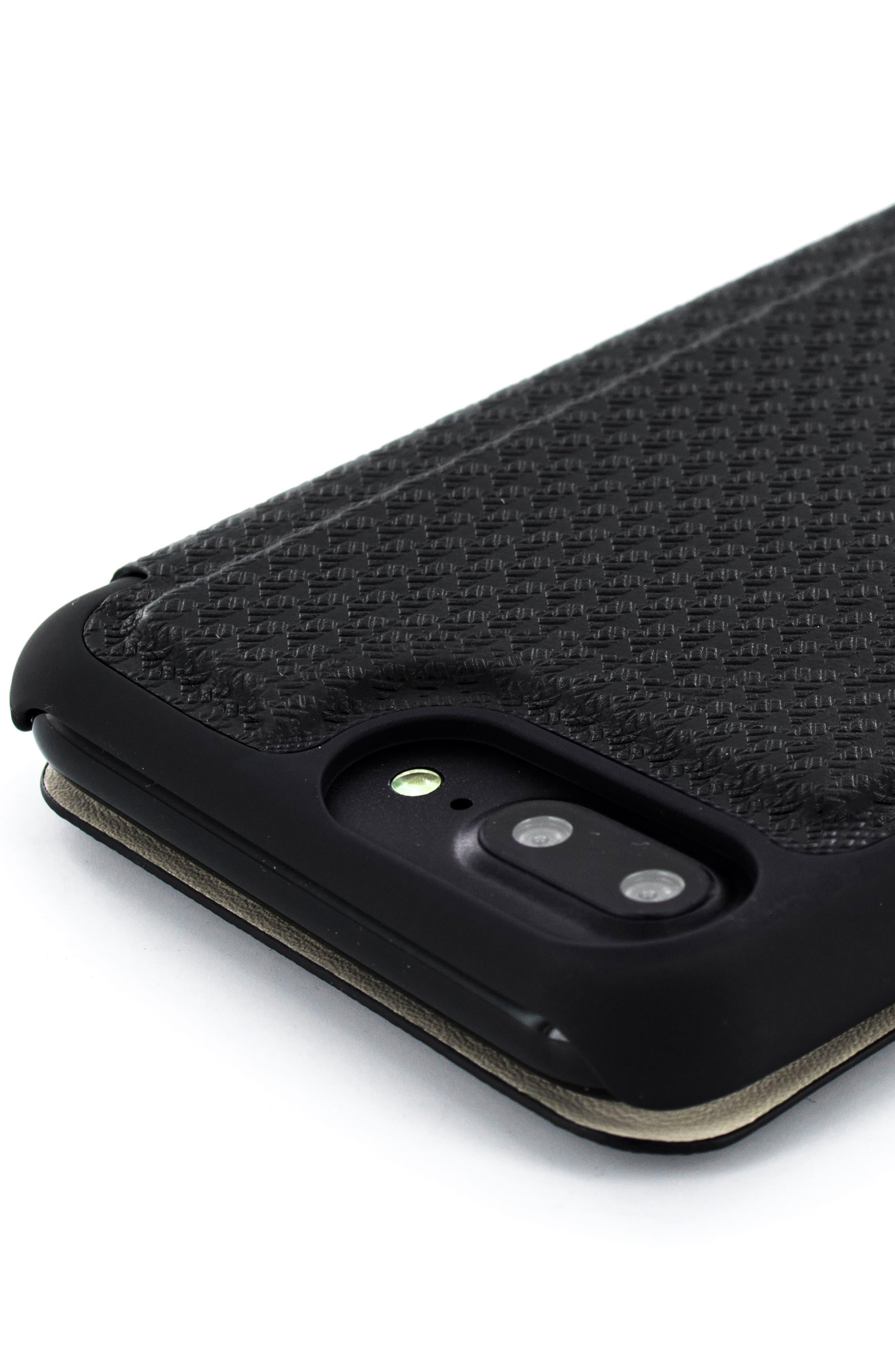 Callst Faux Leather iPhone 6/6s/7/8 Plus Folio Case,                             Alternate thumbnail 4, color,                             BLACK