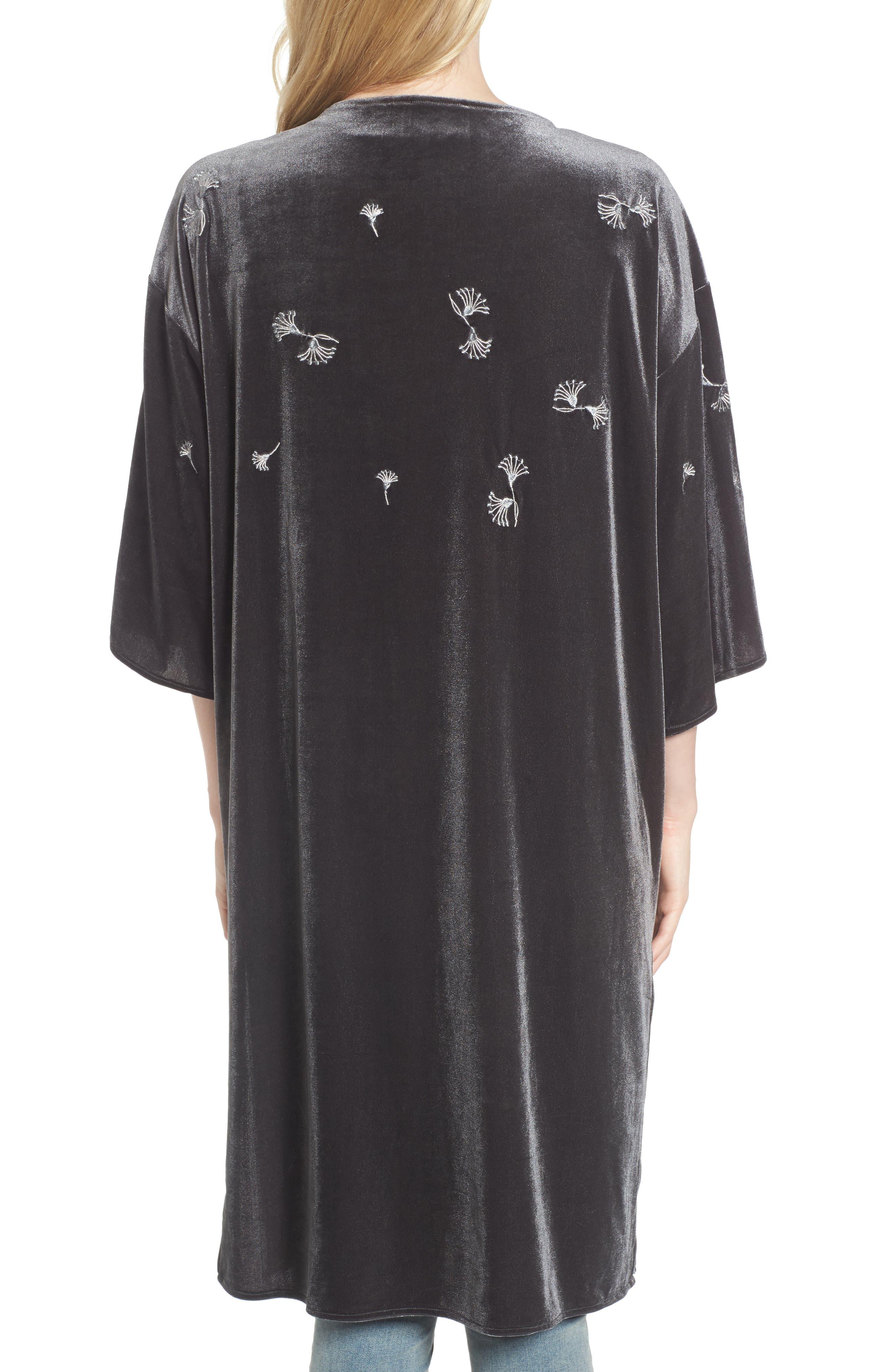 Embroidered Velvet Kimono,                             Alternate thumbnail 2, color,                             020