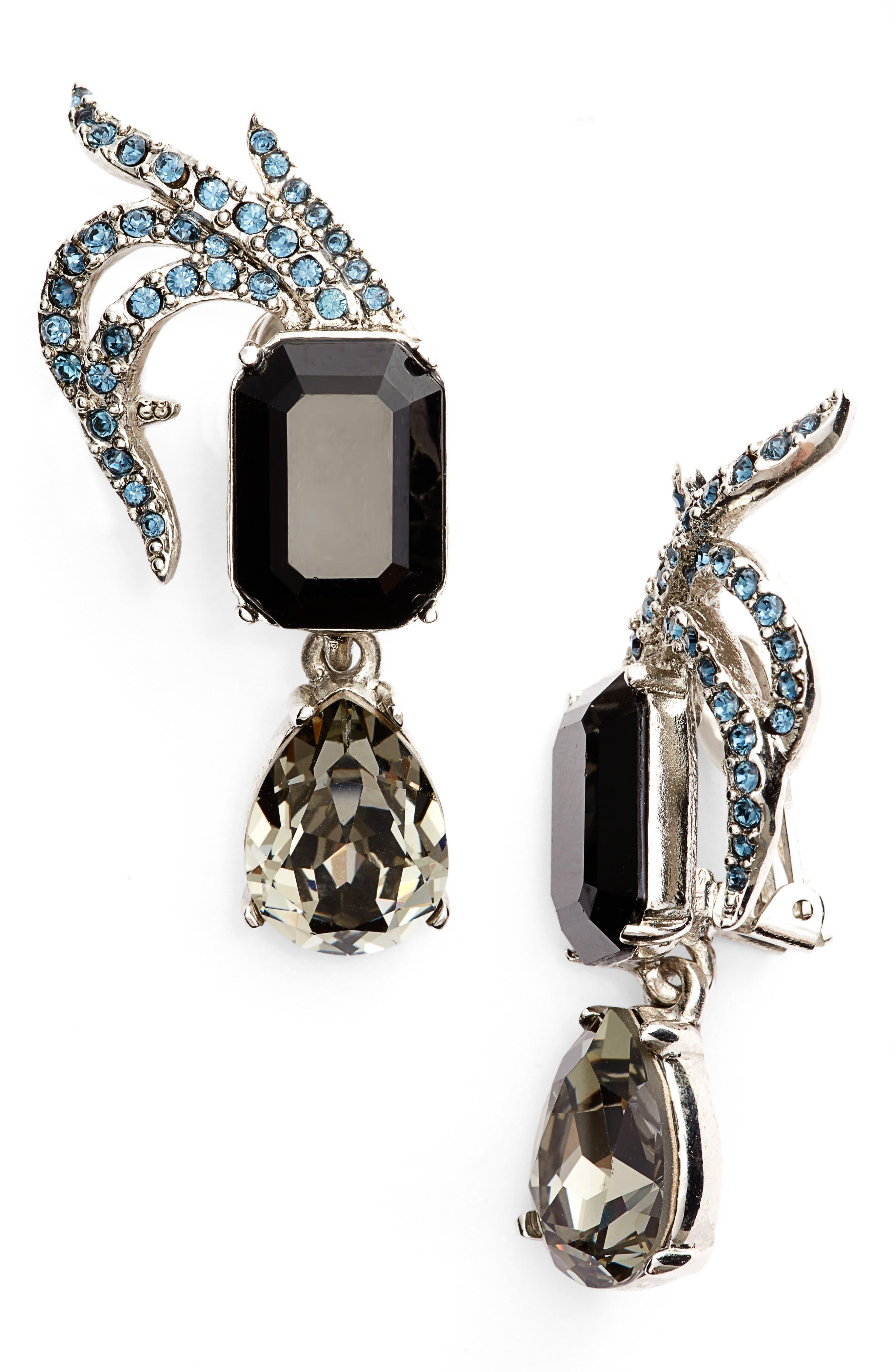 OSCAR DE LA RENTA,                             Pavé Swarovski Crystal Leaf Clip Earrings,                             Main thumbnail 1, color,                             001