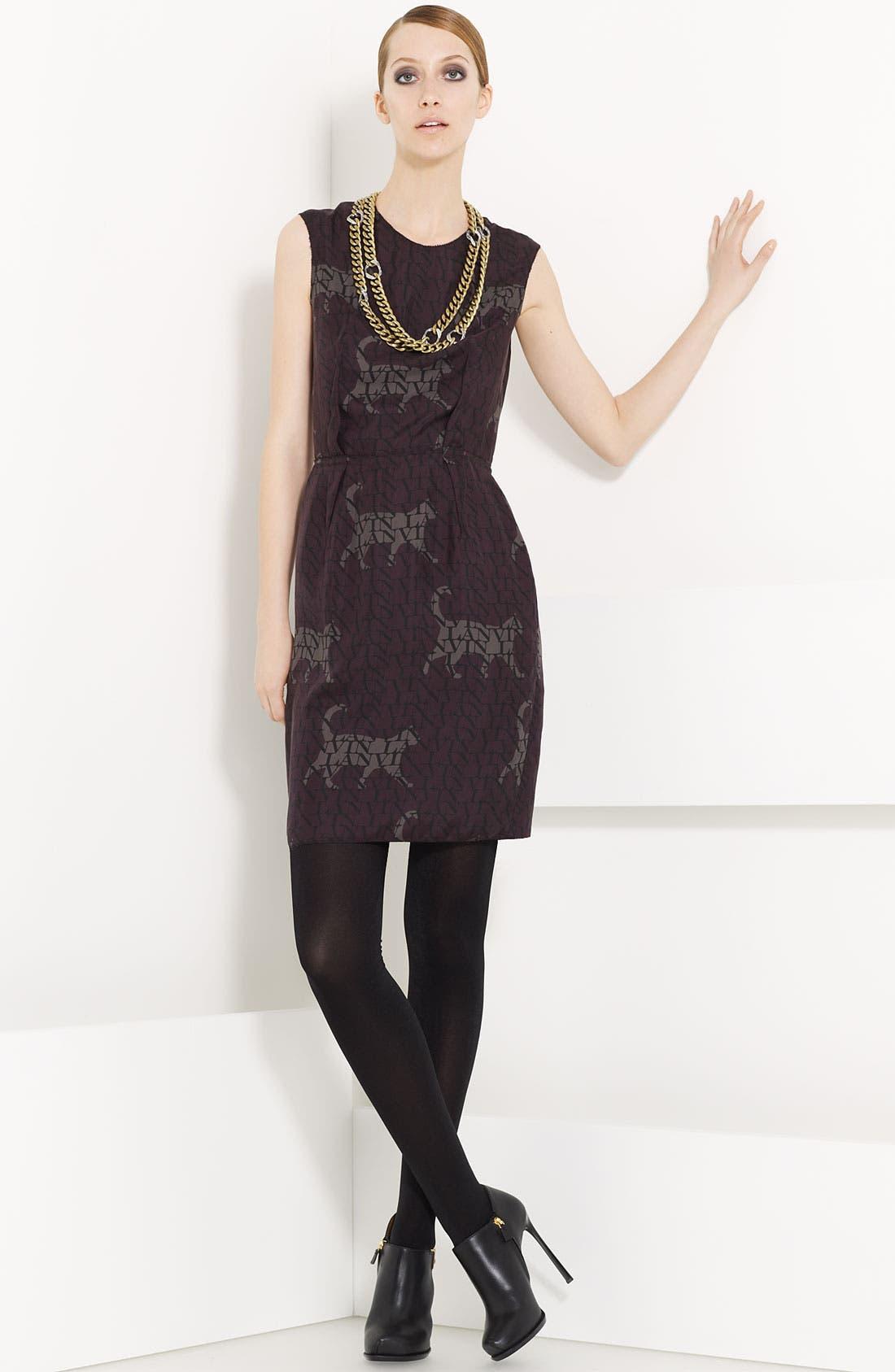 LANVIN Cat & Logo Print Washed Silk Dress, Main, color, 500