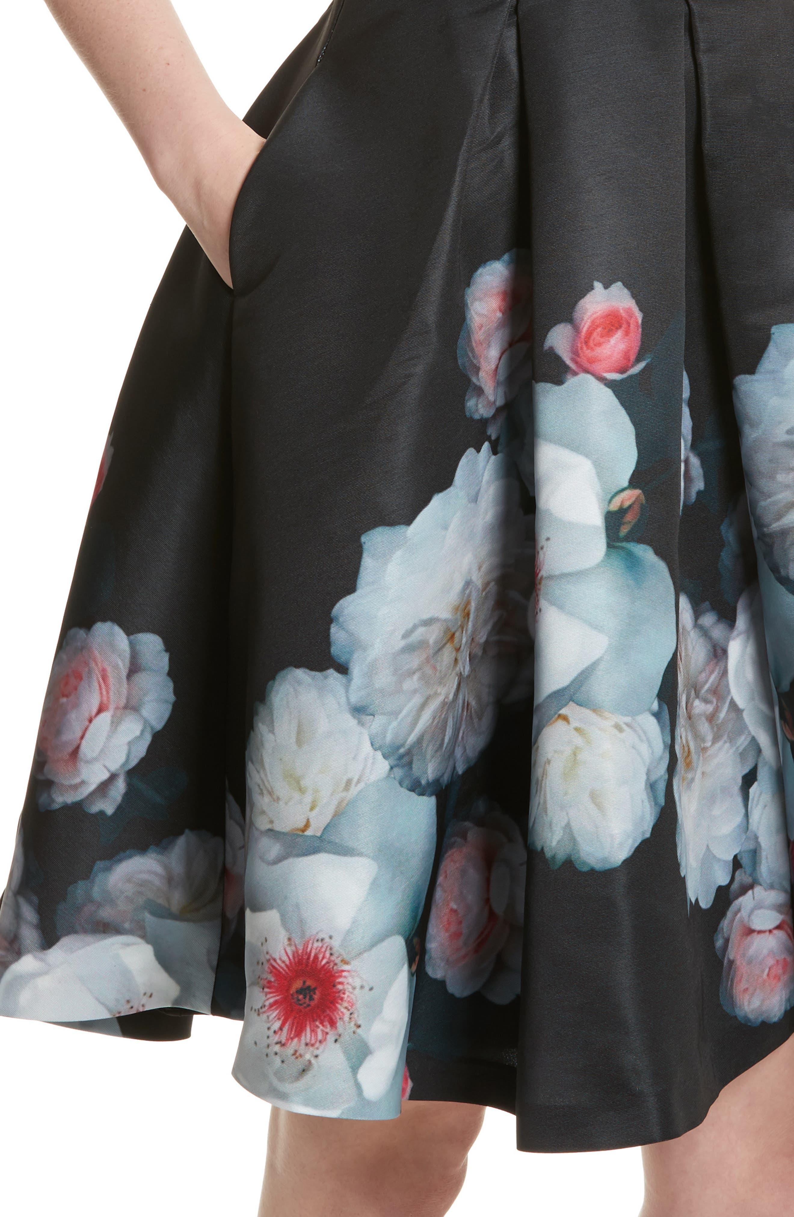 Jelina Chelsea Floral Fit & Flare Dress,                             Alternate thumbnail 4, color,                             001
