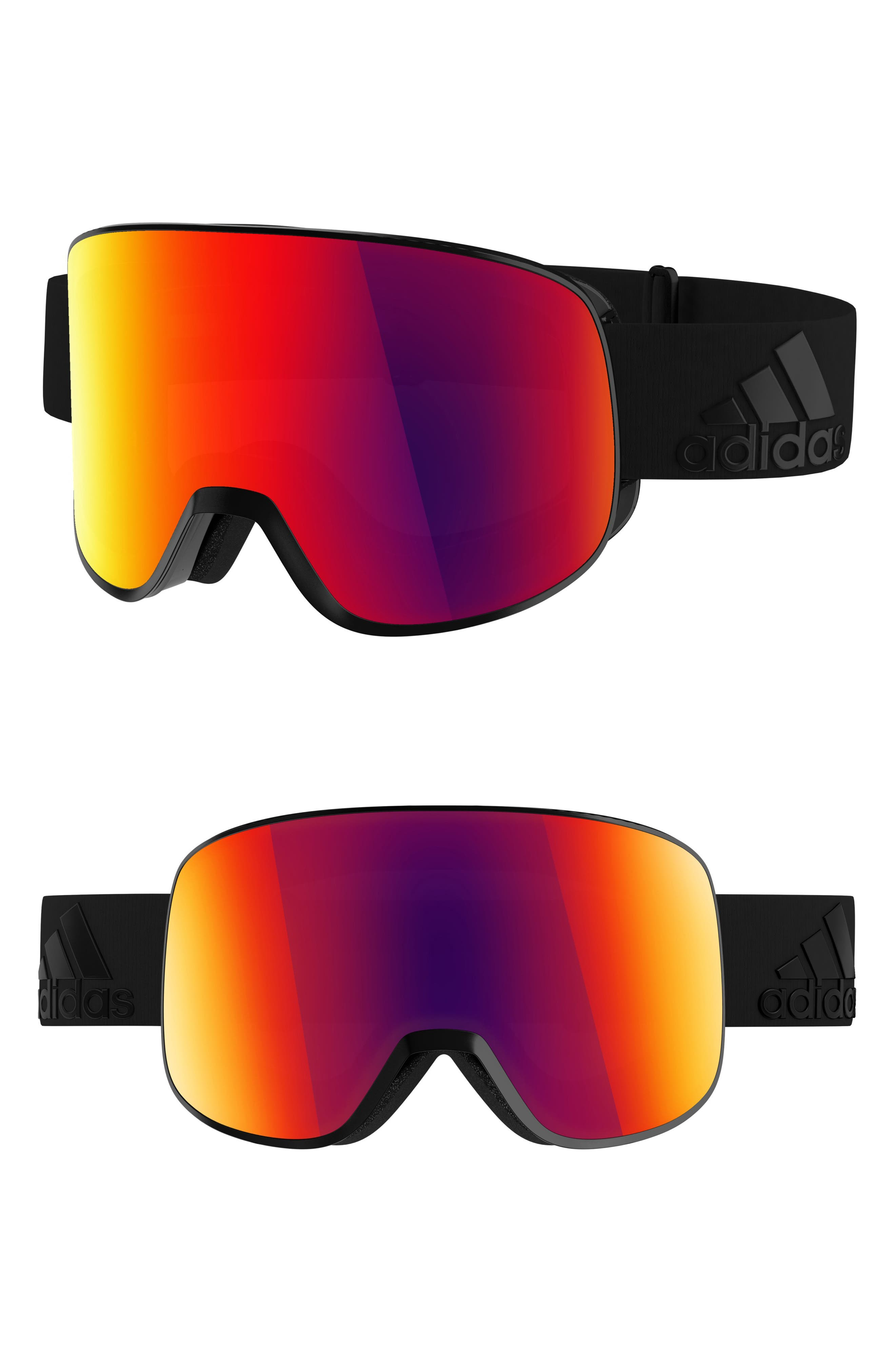 Progressor C Mirrored Spherical Snowsports Goggles,                             Main thumbnail 1, color,                             BLACK MATTE/ RED