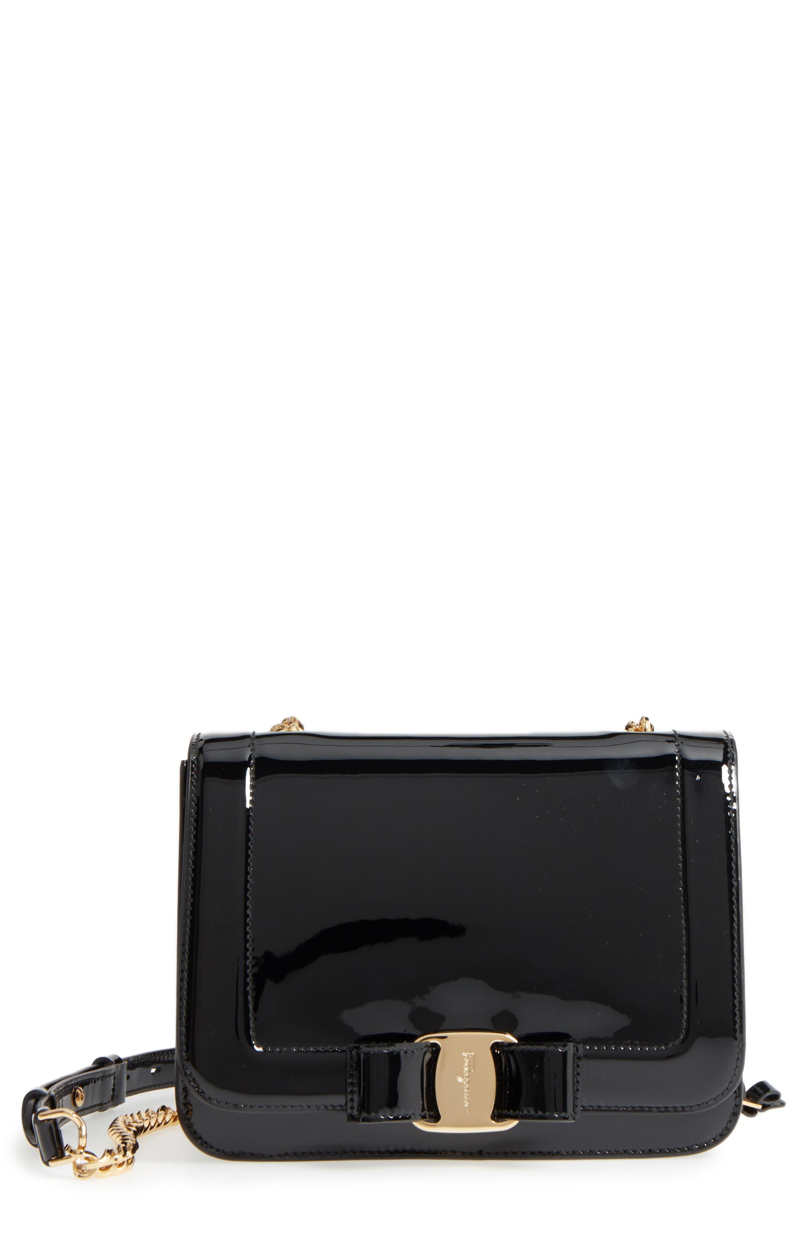 Vara Patent Leather Shoulder Bag,                         Main,                         color, NERO/ BONBON