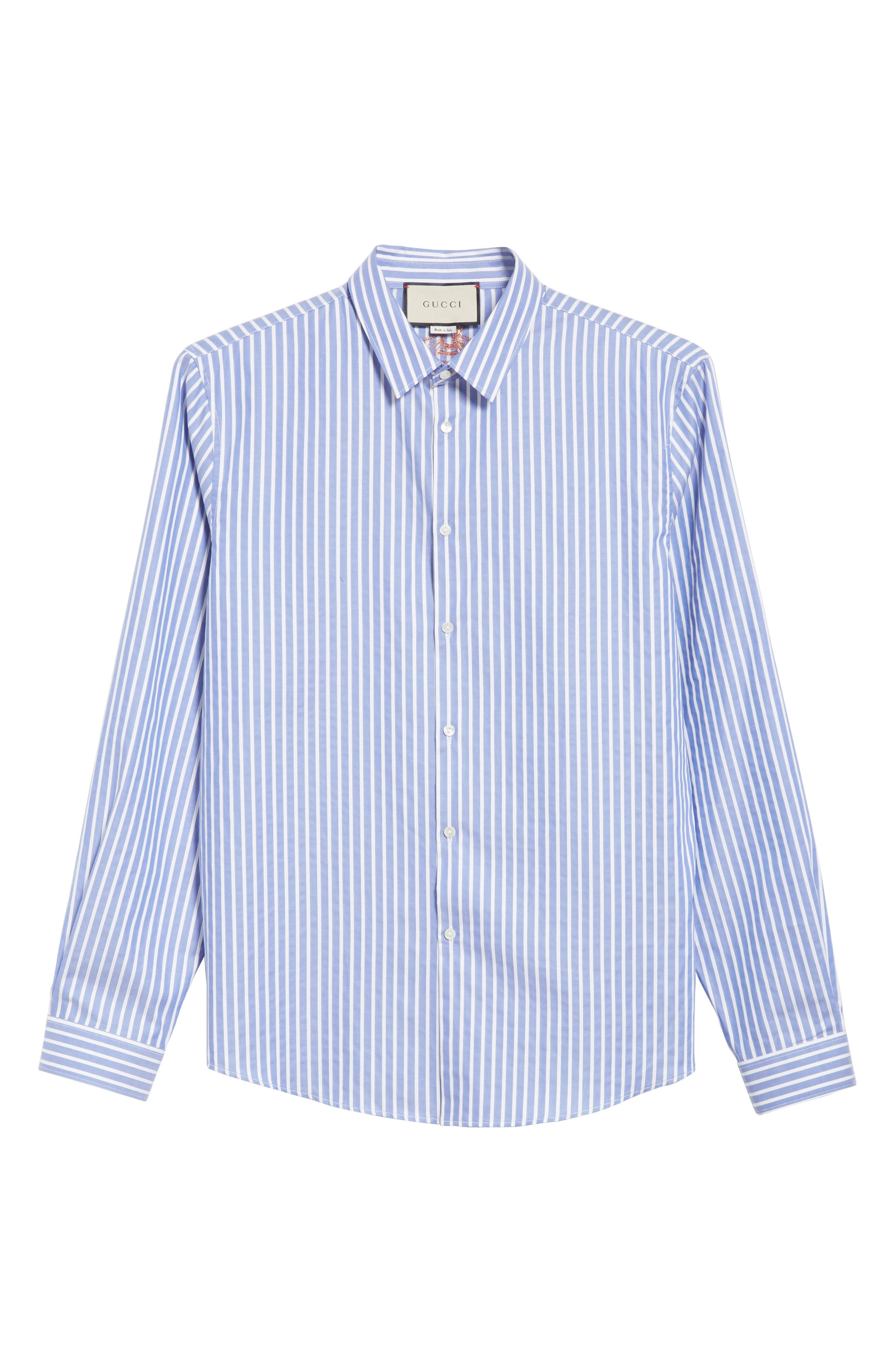 Bee Embroidered Stripe Dress Shirt,                             Alternate thumbnail 6, color,                             4869 BLUE