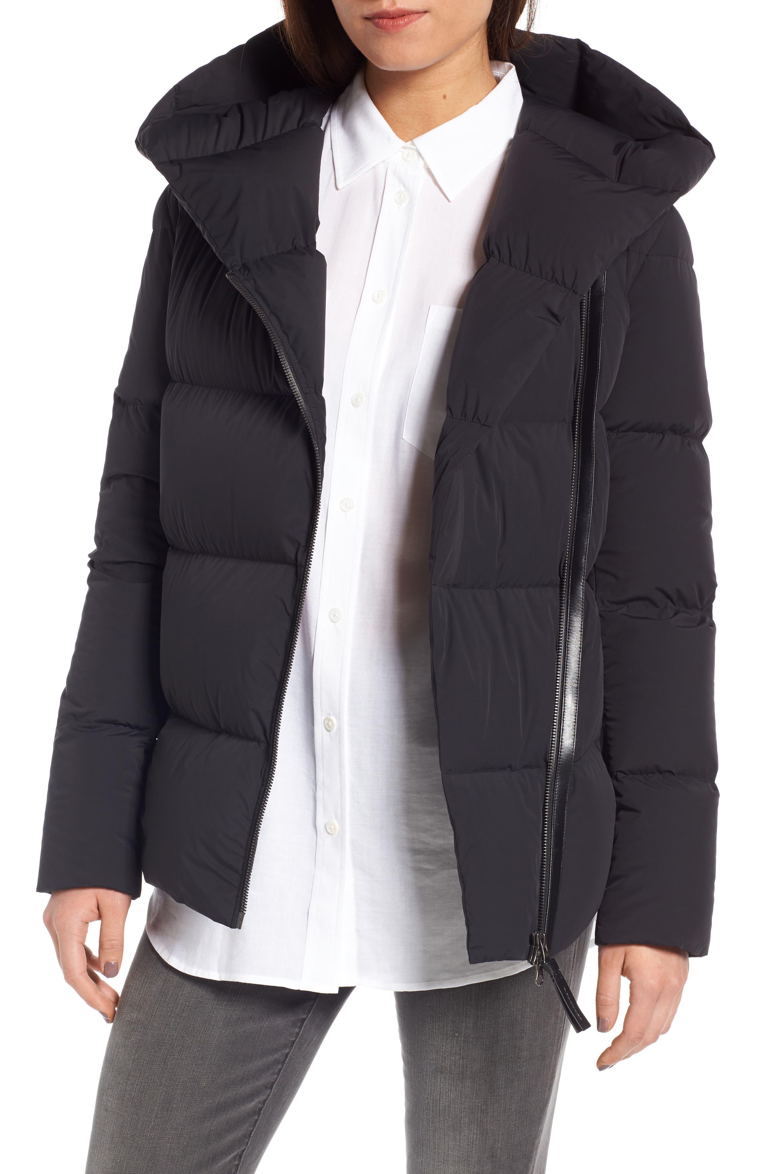 Tamia-N Asymmetrcial Zip Down Coat,                             Main thumbnail 1, color,                             001