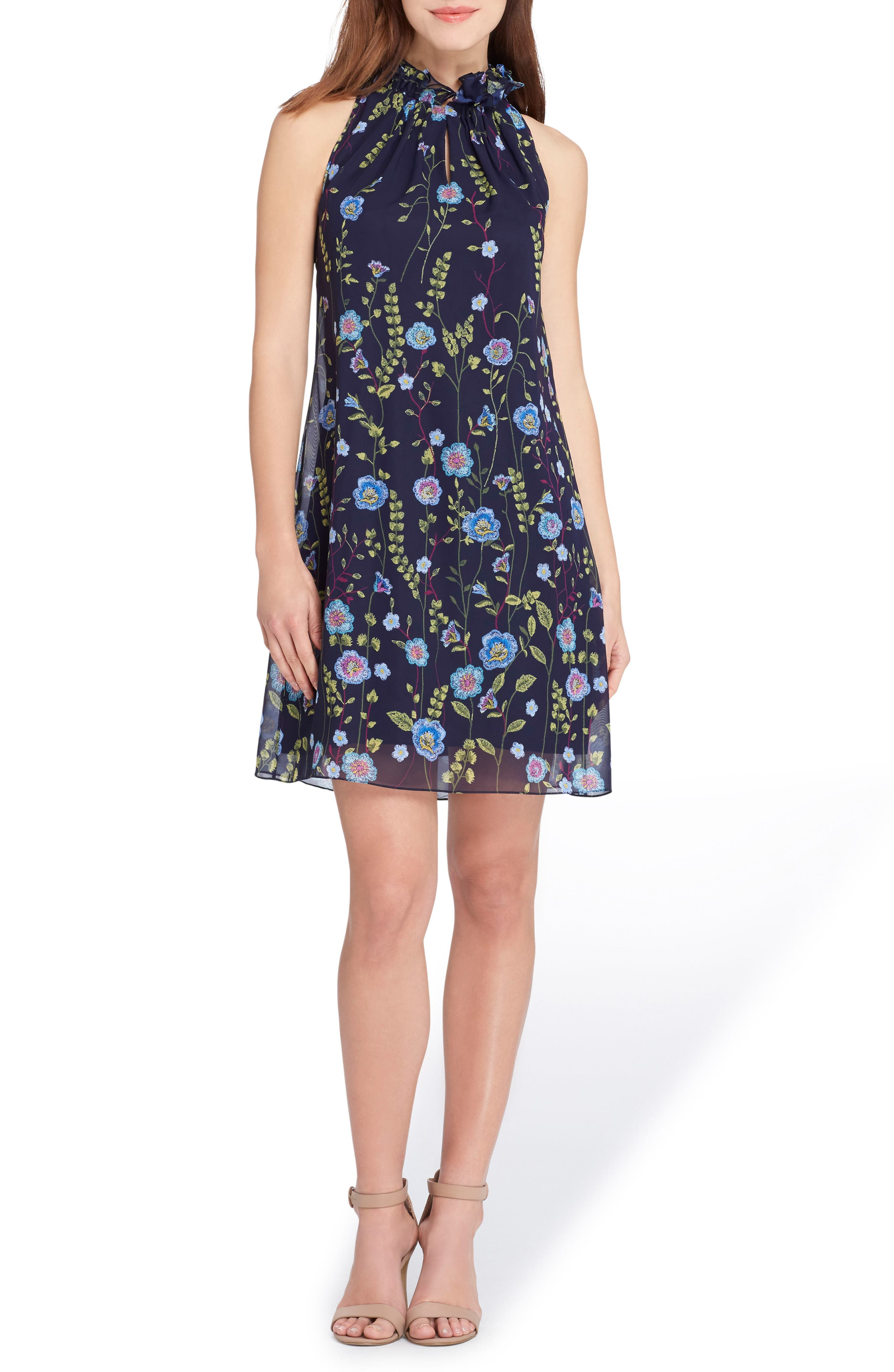 Embroidered Chiffon Shift Dress,                         Main,                         color, 478