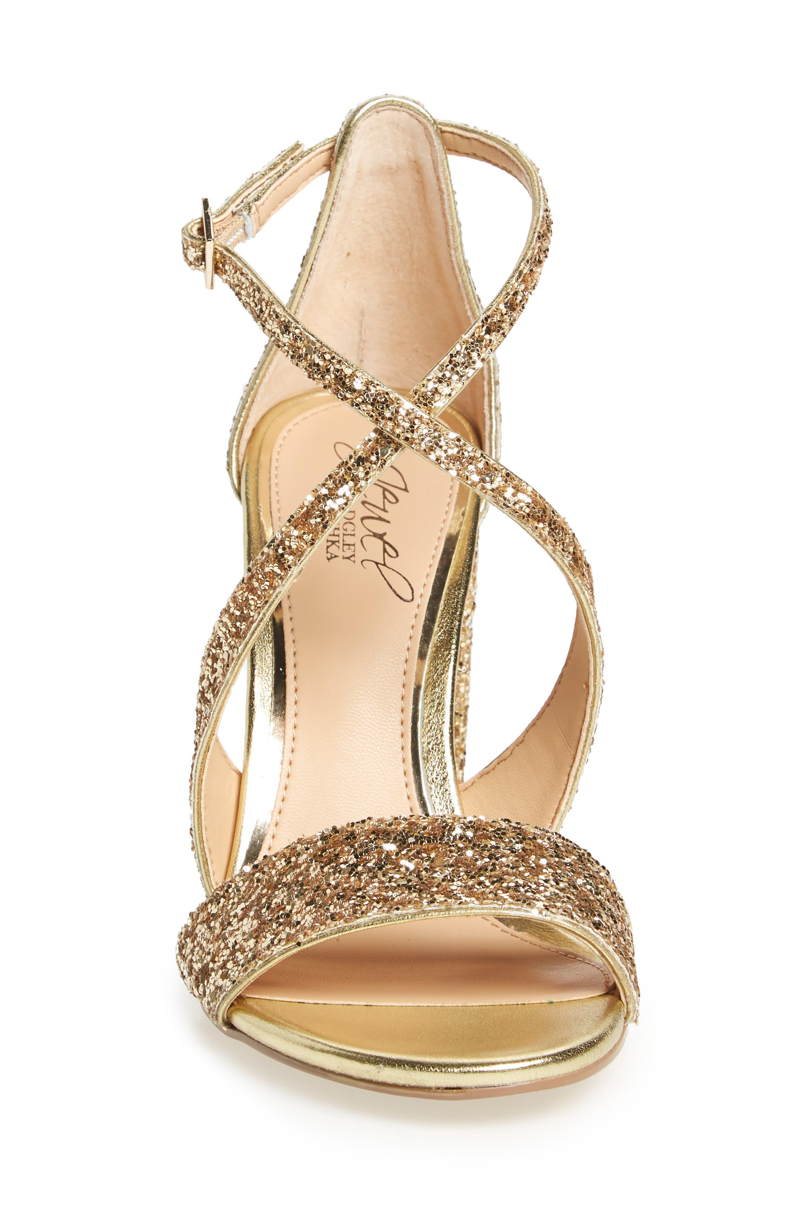 Cook Block Heel Glitter Sandal,                             Alternate thumbnail 3, color,                             GOLD LEATHER