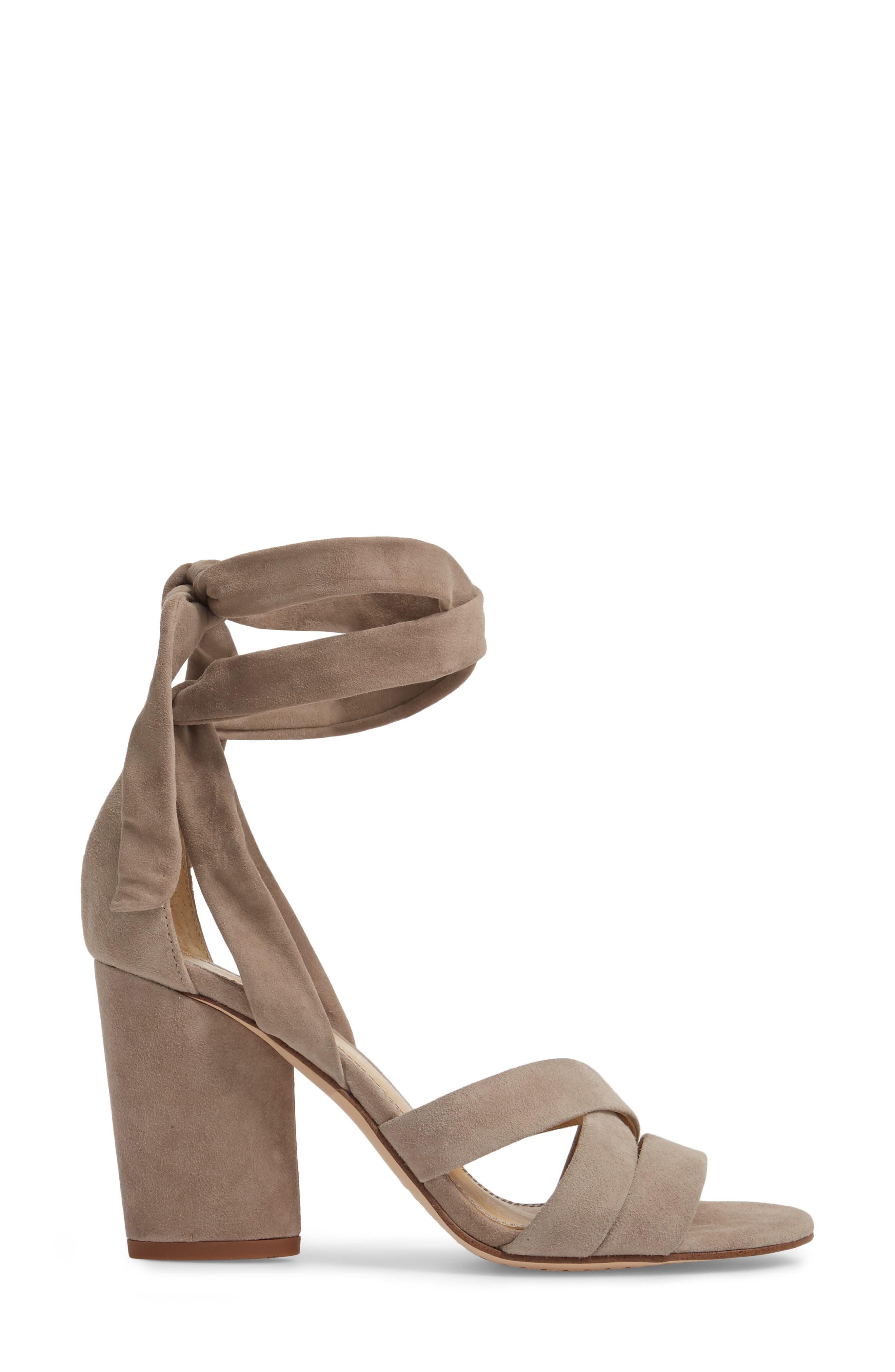 Fergie Lace-Up Sandal,                             Alternate thumbnail 3, color,                             TAUPE SUEDE
