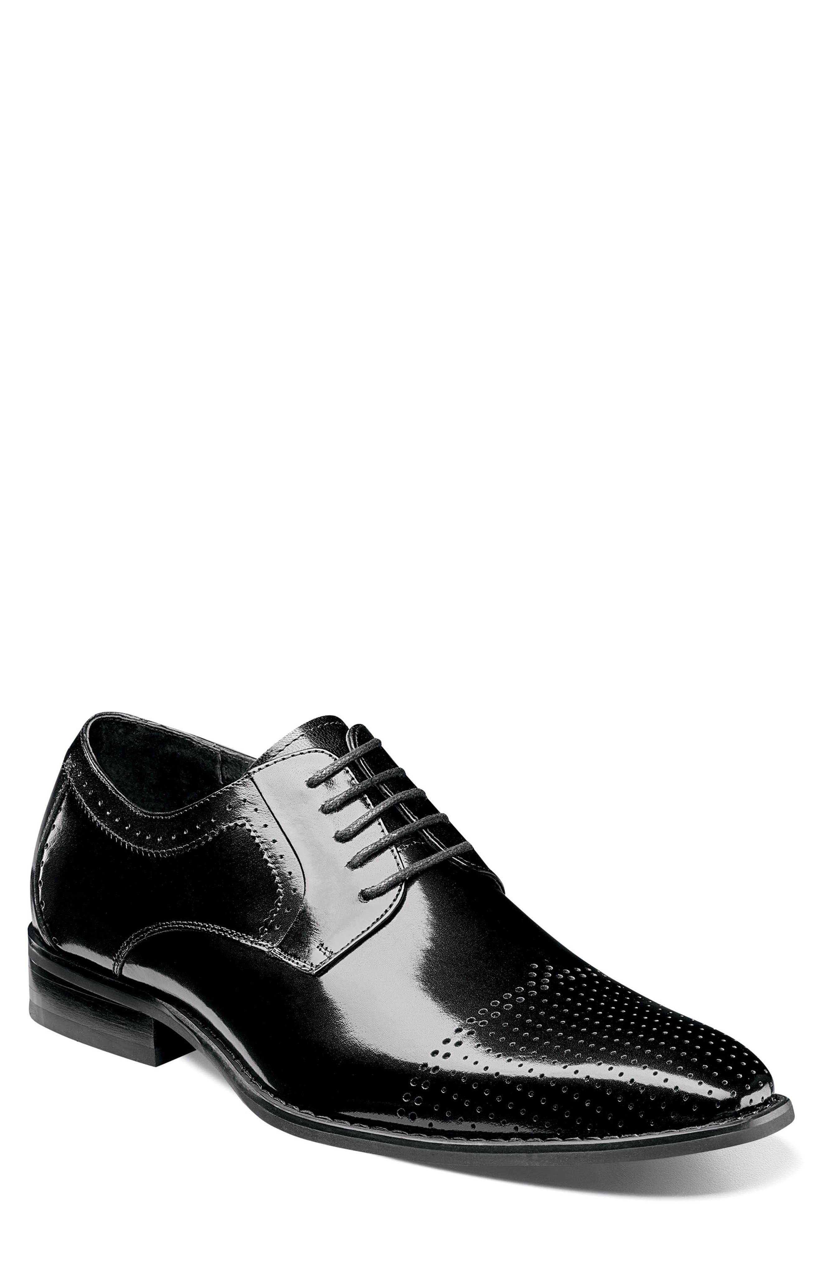 Sanborn Perforated Cap Toe Derby,                             Main thumbnail 1, color,                             BLACK LEATHER