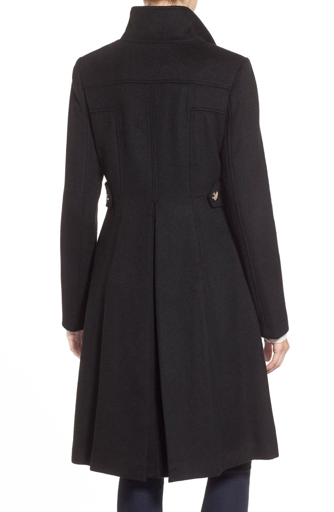 Wool Blend Long Military Coat,                             Alternate thumbnail 3, color,                             001