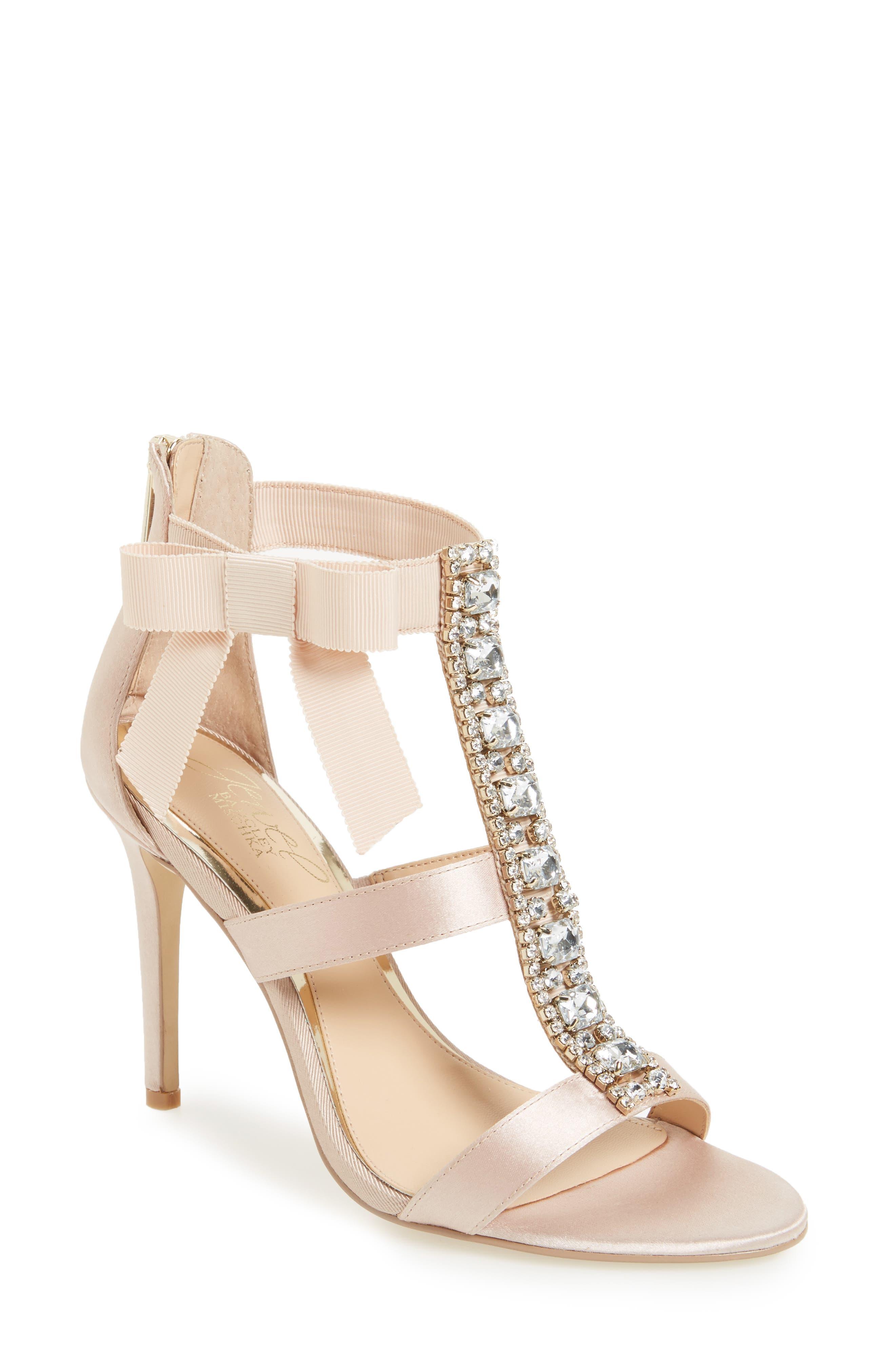 Henderson Embellished Bow Sandal,                         Main,                         color, CHAMPAGNE SATIN