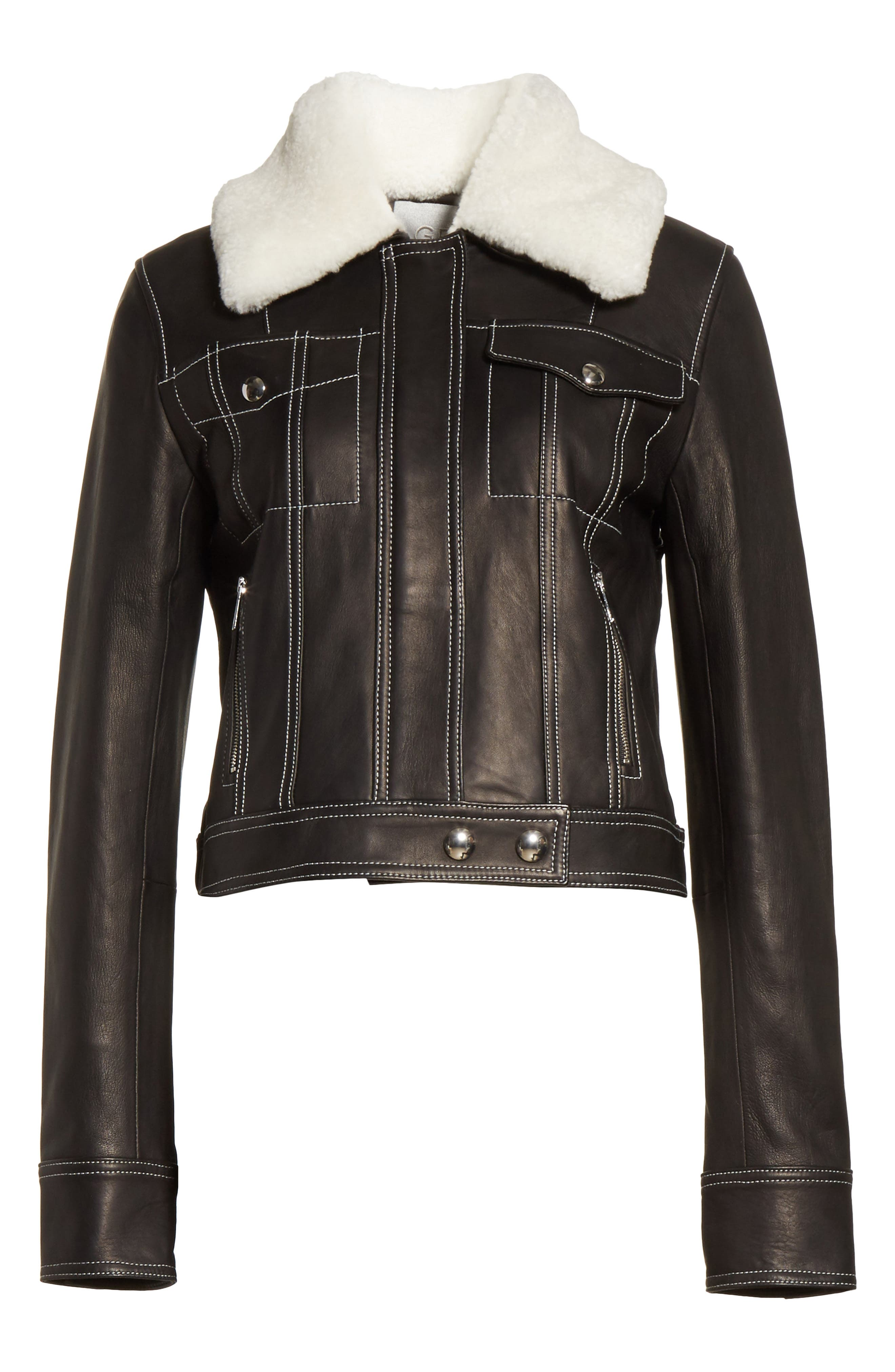 GREY Jason Wu Shrunken Leather Jacket with Removable Genuine Shearling Collar,                             Alternate thumbnail 5, color,                             009