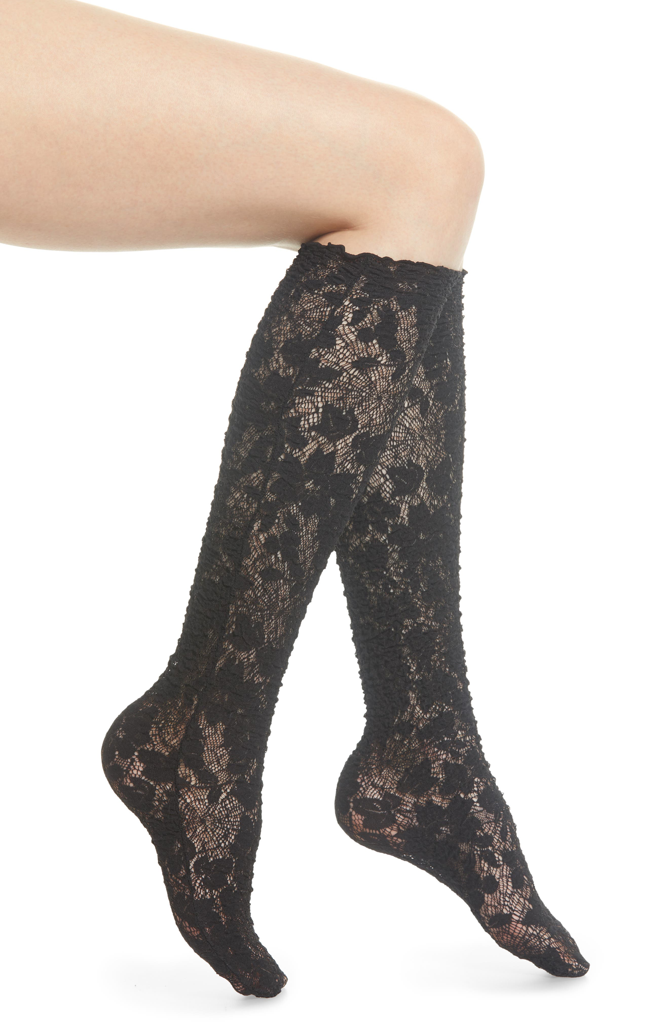 Camelia Lace Knee High Socks,                         Main,                         color, BLACK