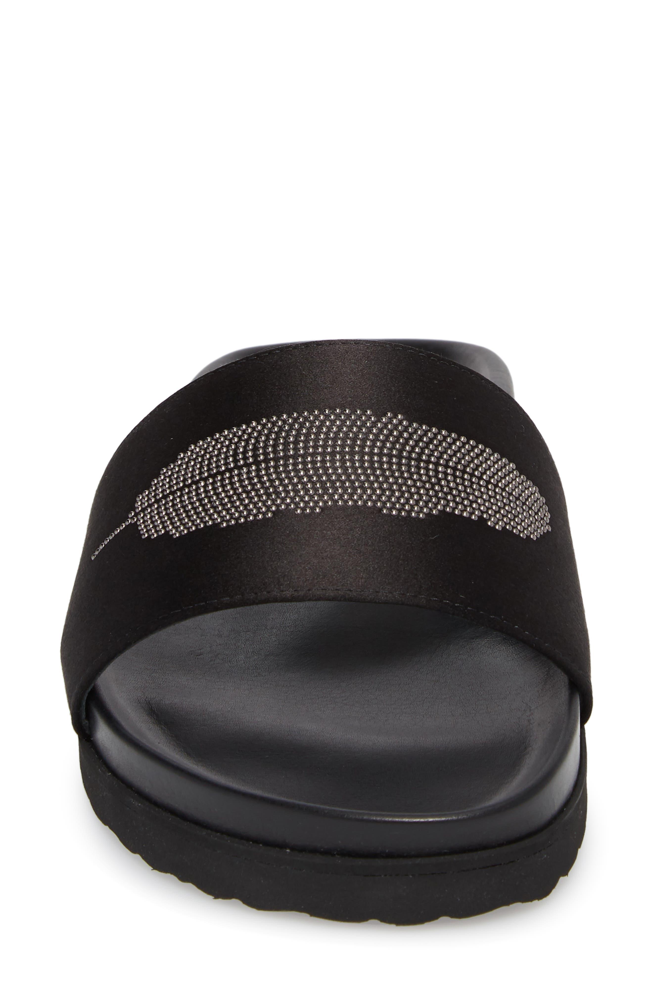 Satin Slide Sandal,                             Alternate thumbnail 4, color,                             BLACK