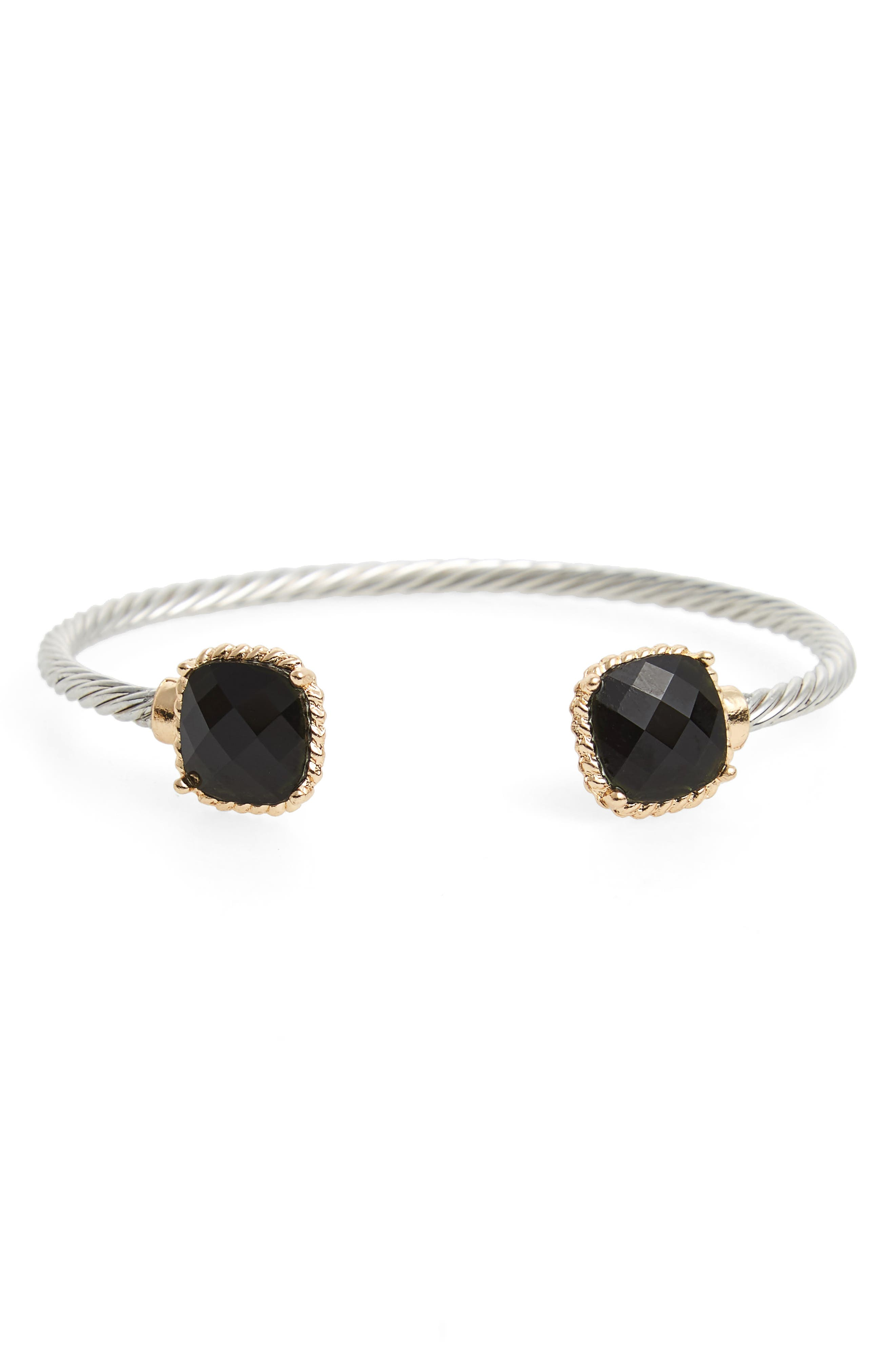 Thin Cable Stone Cuff,                             Main thumbnail 1, color,                             001