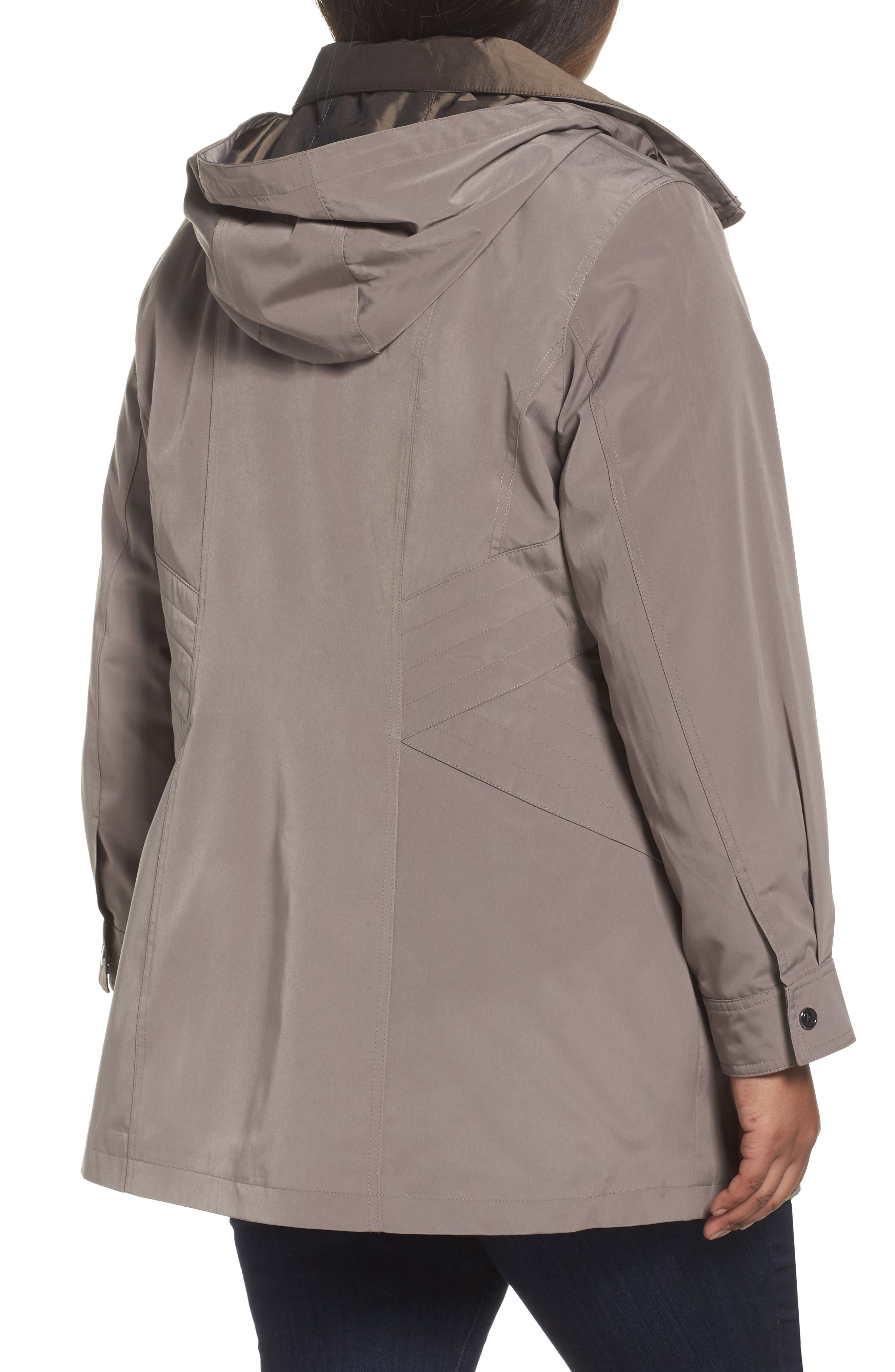 Two-Tone Long Silk Look Raincoat,                             Alternate thumbnail 4, color,