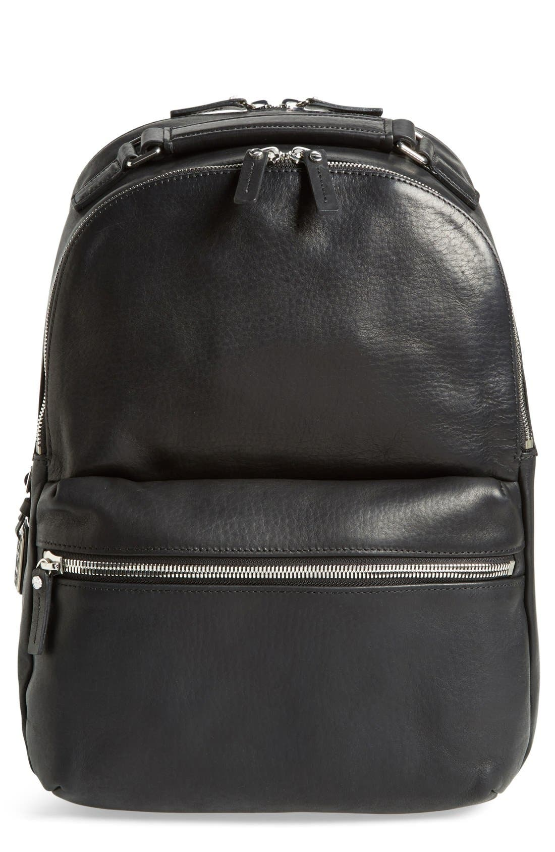 Runwell Leather Laptop Backpack,                         Main,                         color, BLACK