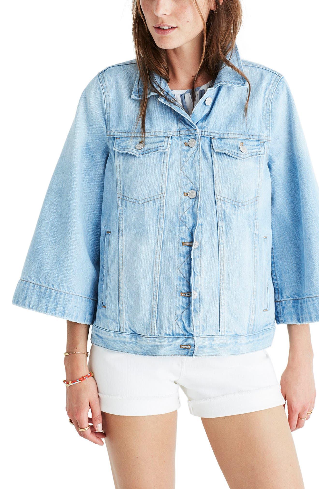 MADEWELL Bell Sleeve Denim Jacket, Main, color, 400