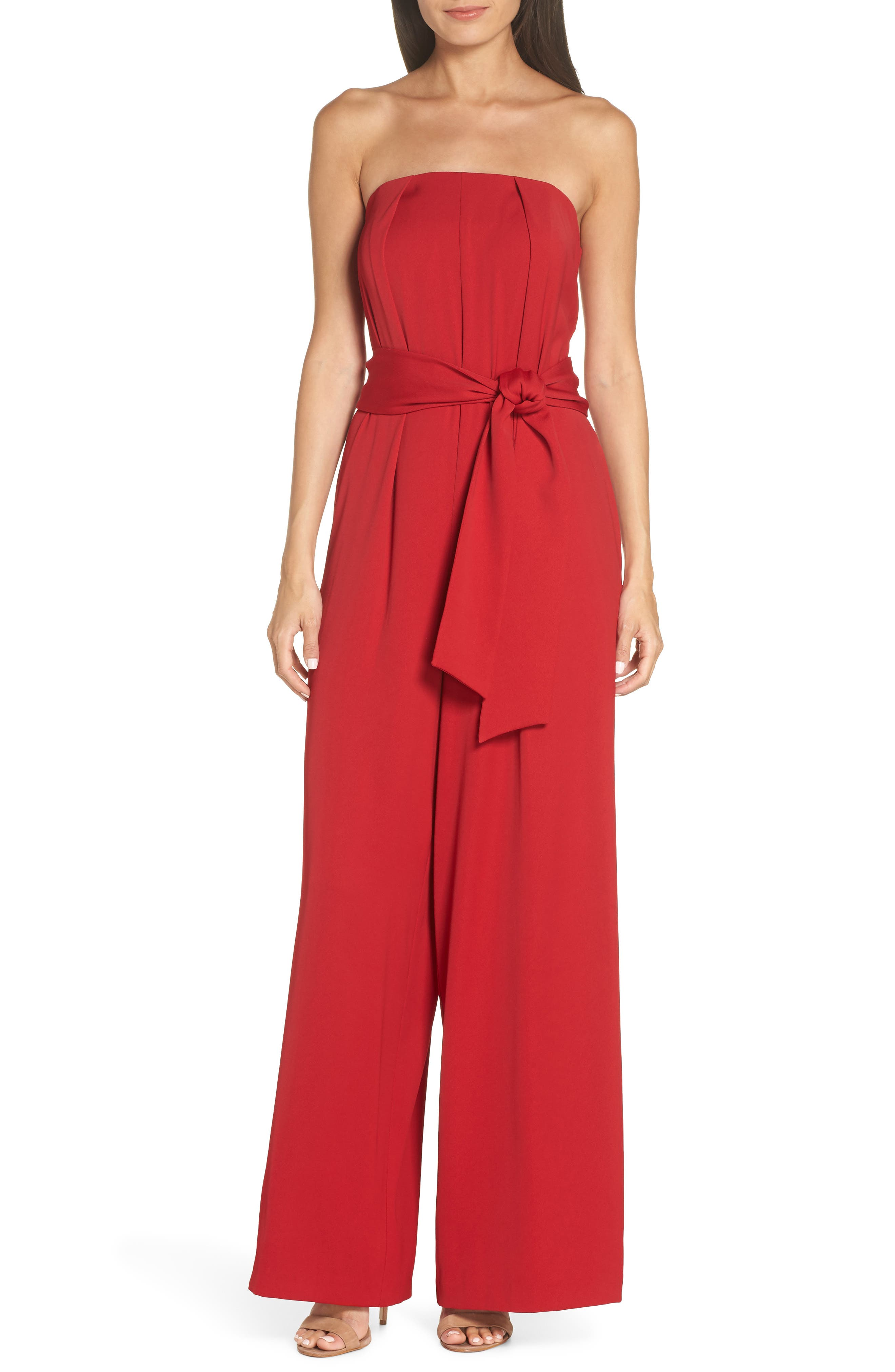Strapless Crepe Jumpsuit,                             Main thumbnail 1, color,                             RED