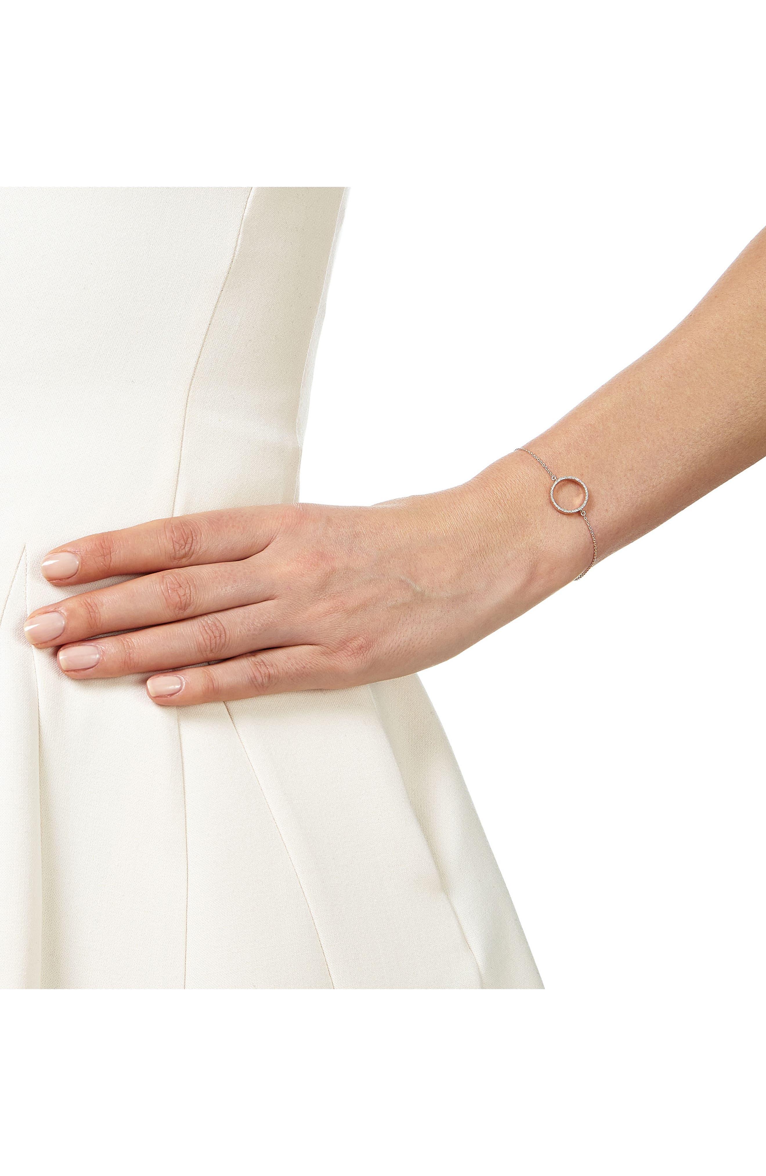 Naida Open Circle Diamond Bracelet,                             Alternate thumbnail 2, color,                             ROSE GOLD