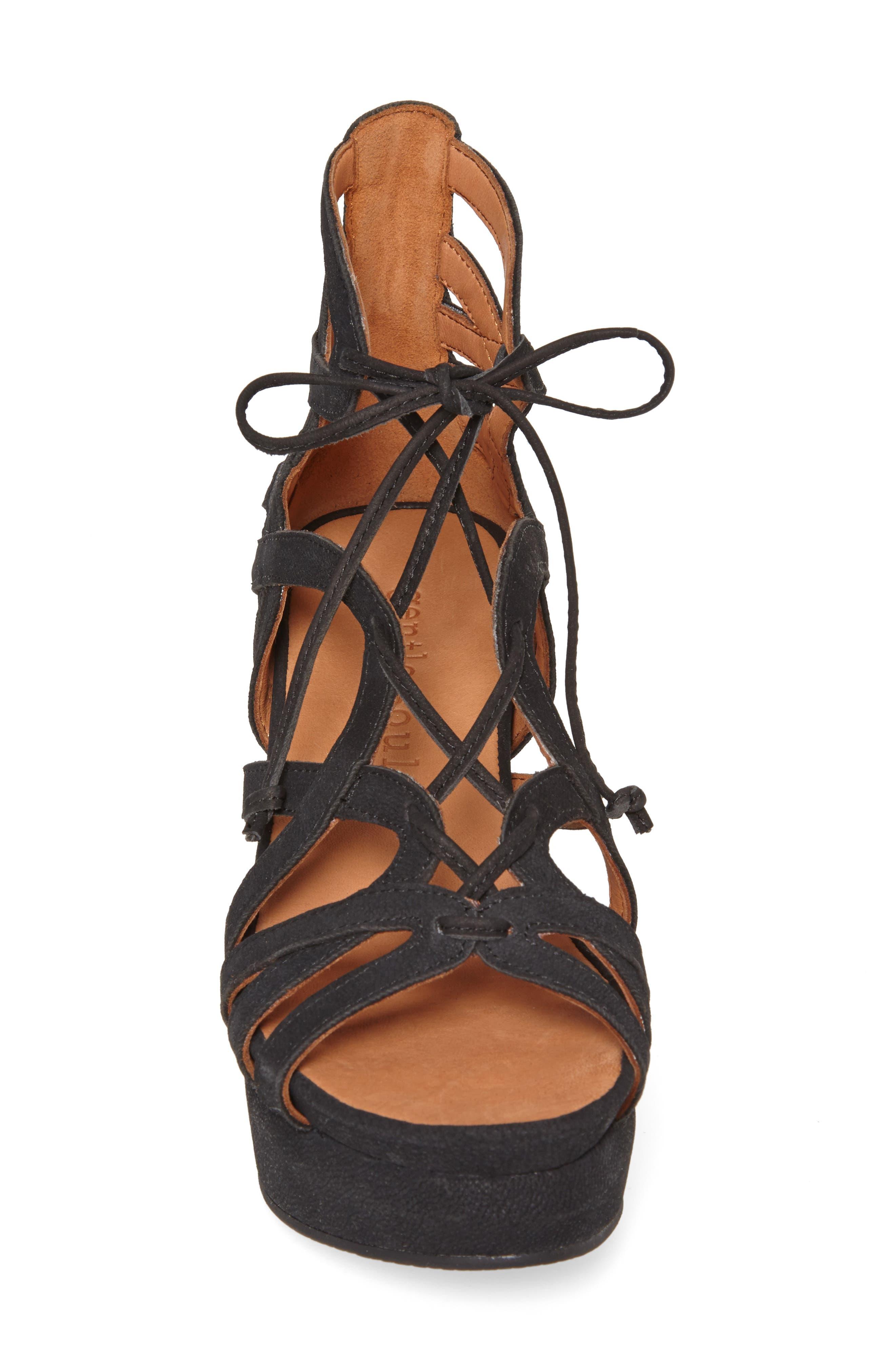 by Kenneth Cole 'Joy' Lace Up Nubuck Sandal,                             Alternate thumbnail 5, color,                             BLACK