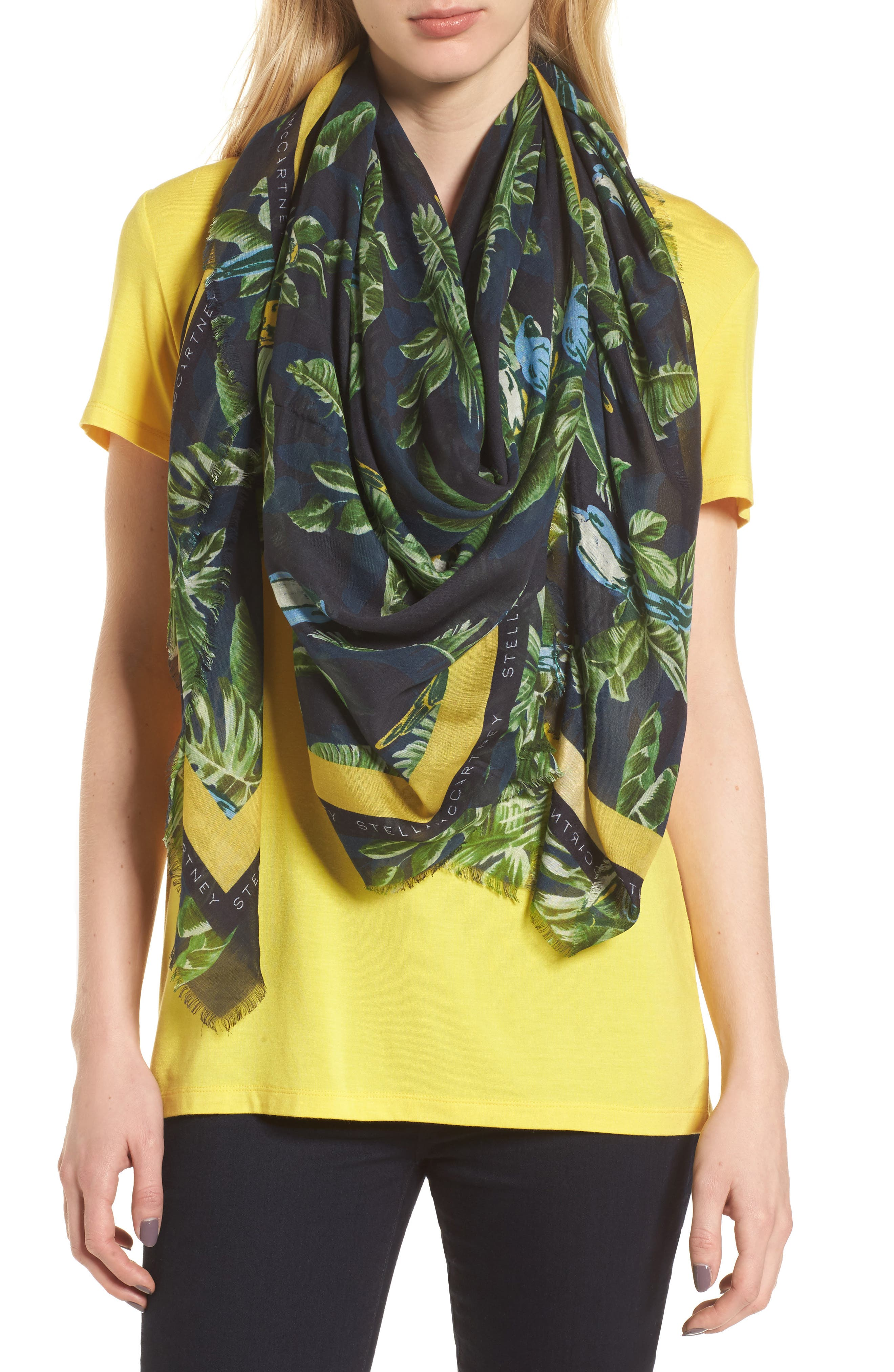 Bird Of Paradise Silk & Modal Scarf,                             Alternate thumbnail 2, color,                             MULTICOLOR
