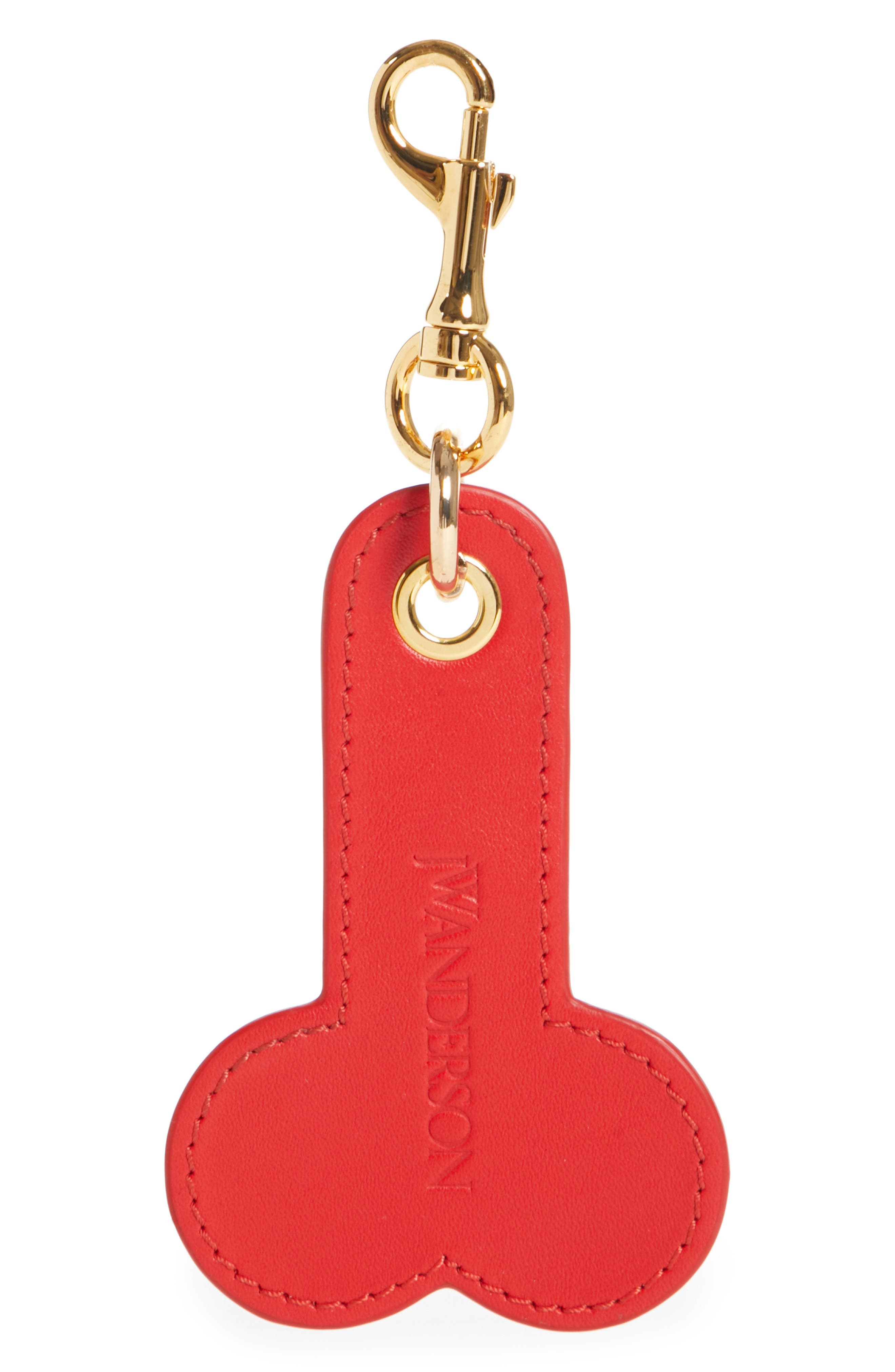 Logo Embossed Leather Bag Charm,                         Main,                         color, 020