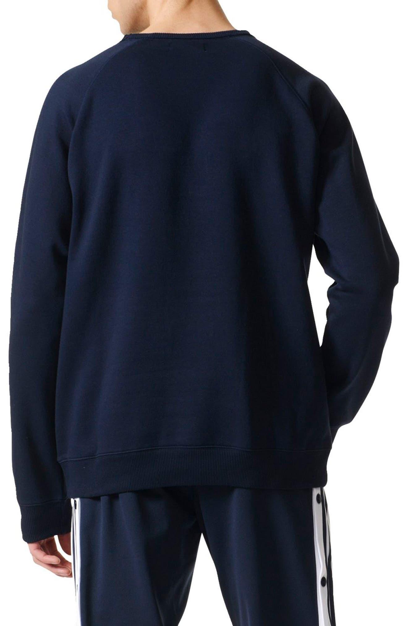 Slim Fit Trefoil Logo Crewneck Sweatshirt,                             Alternate thumbnail 2, color,                             408
